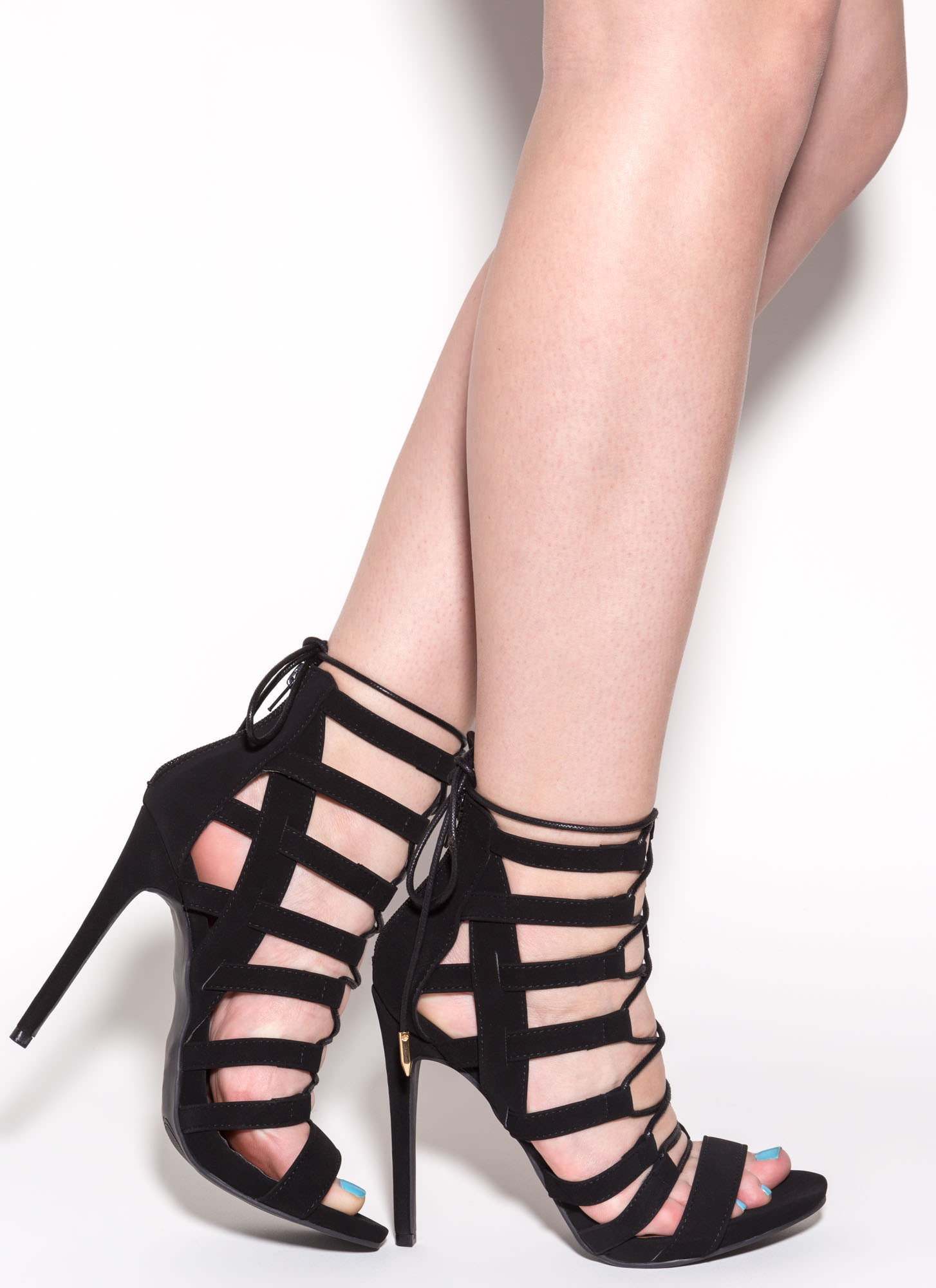 In A Cage Lace-Up Heels