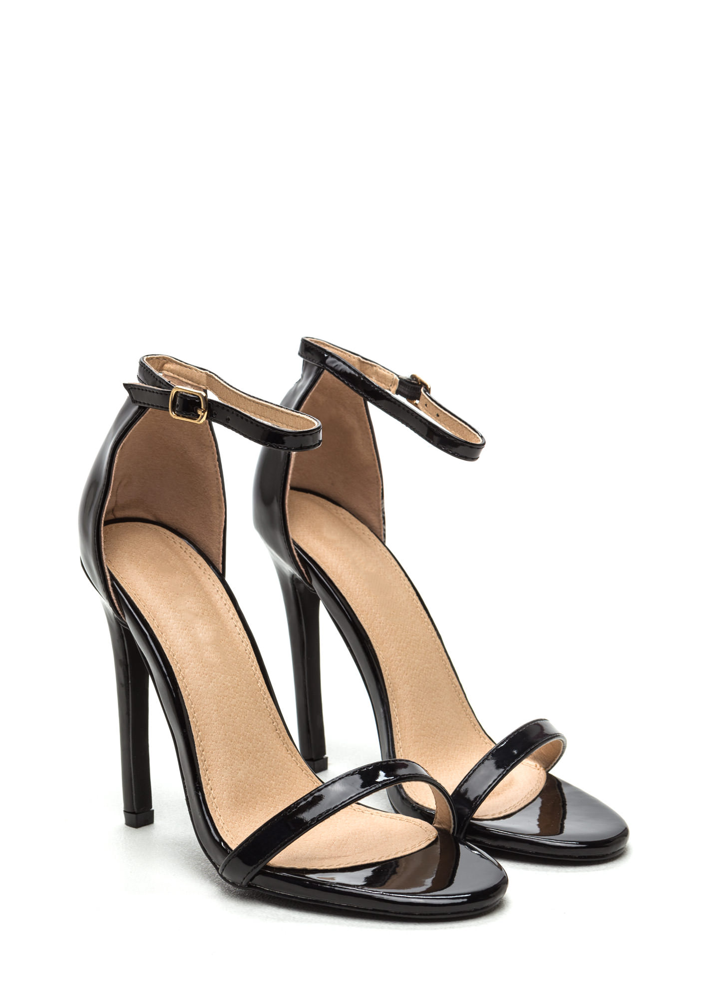 Skinny Feels Strappy Faux Patent Heels BLACK