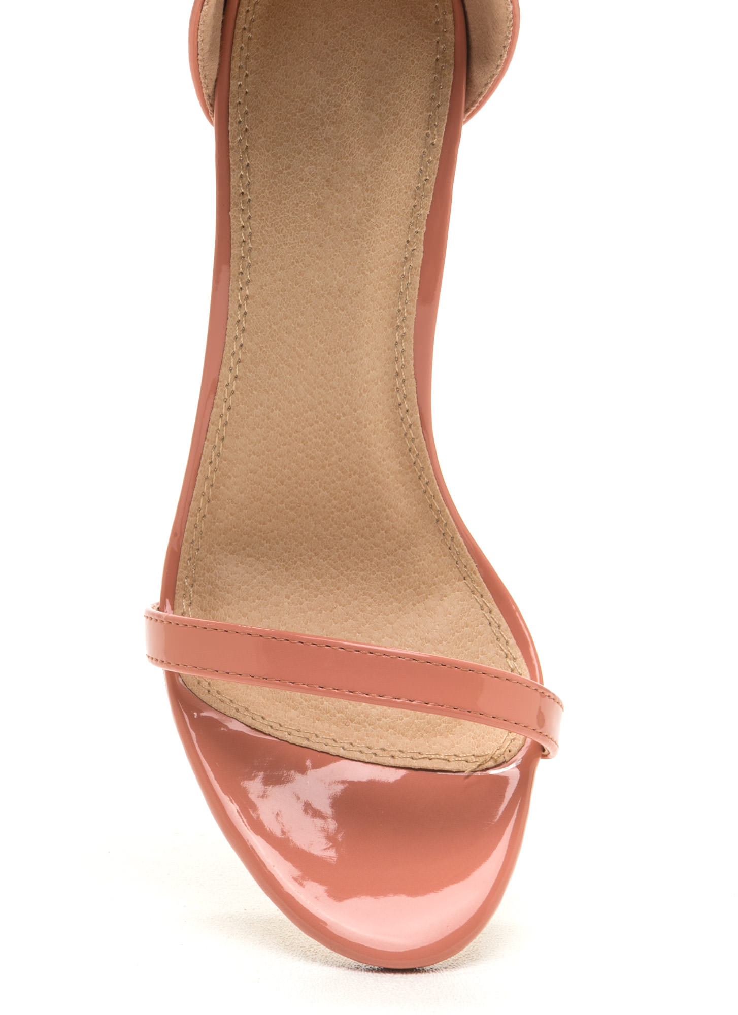 Skinny Feels Strappy Faux Patent Heels BLUSH