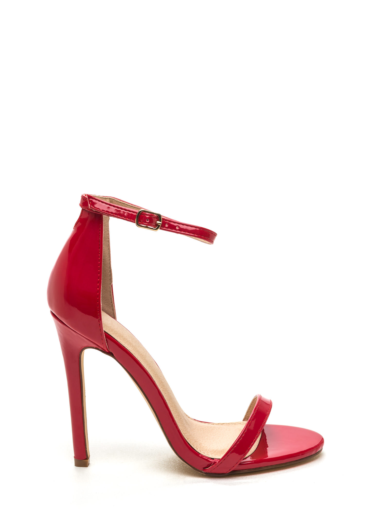 Skinny Feels Strappy Faux Patent Heels RED