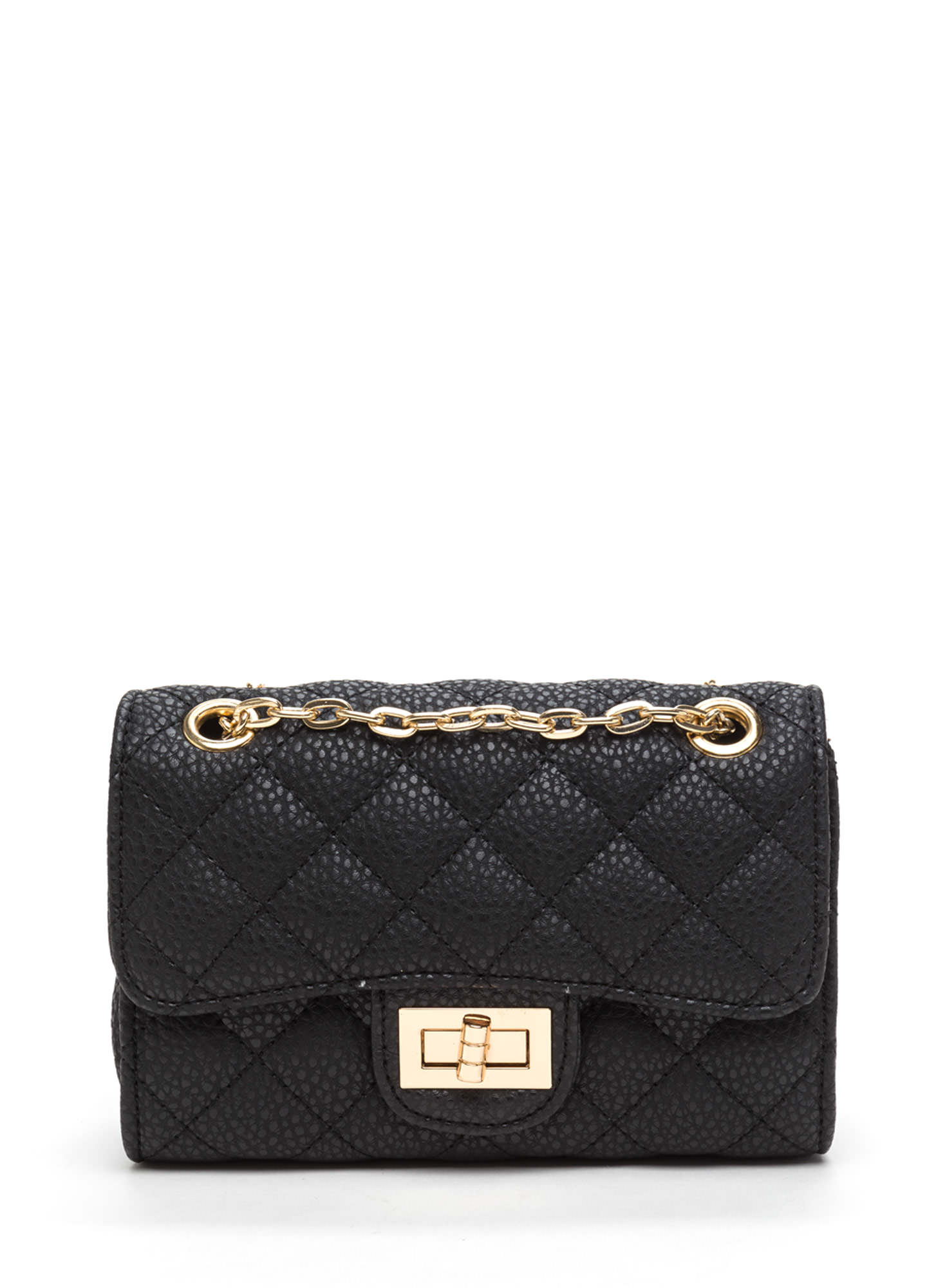 Quilted Collection Faux Leather Bag BLACK