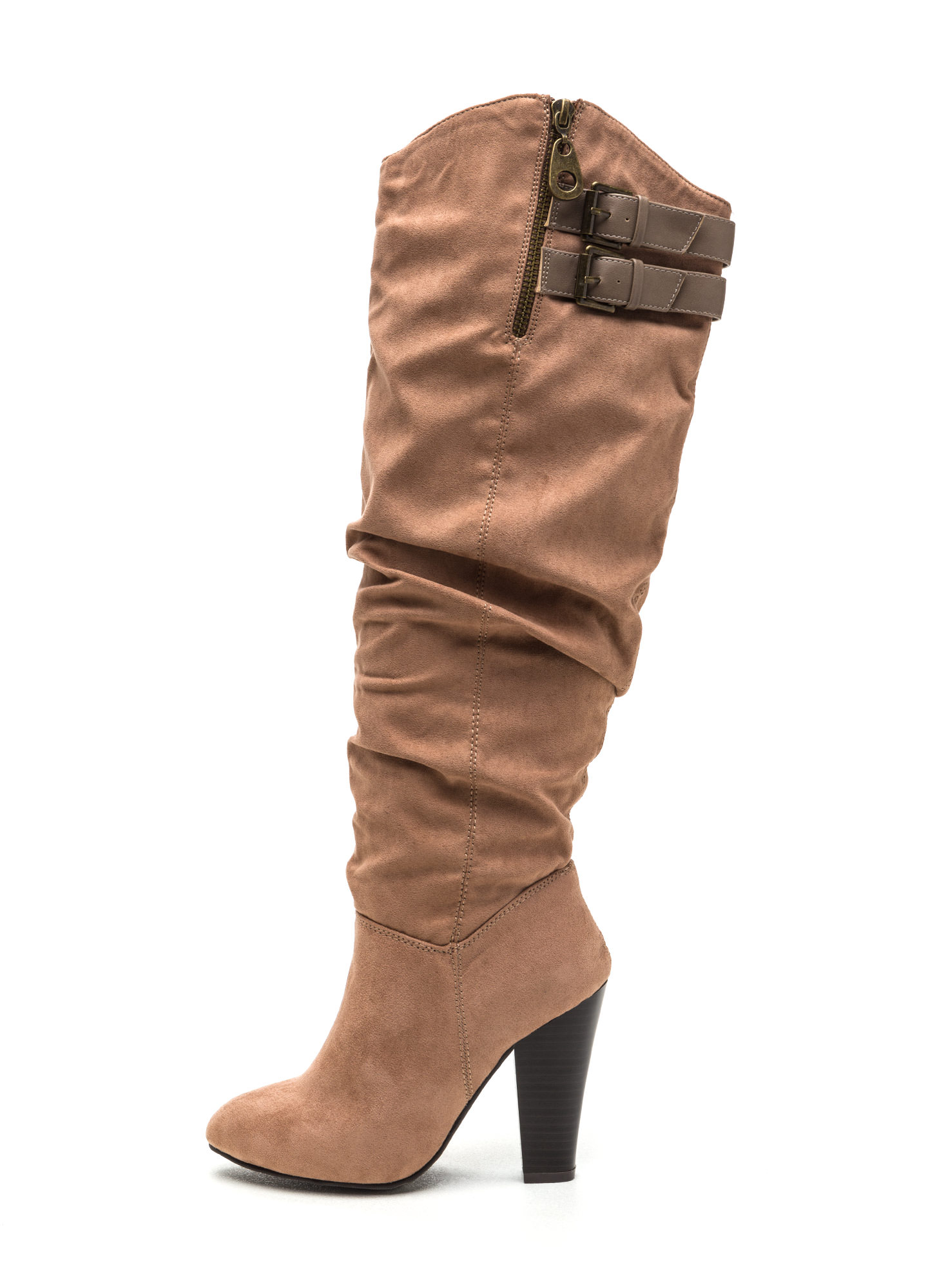 No Slouch Chunky Faux Suede Boots TAUPE
