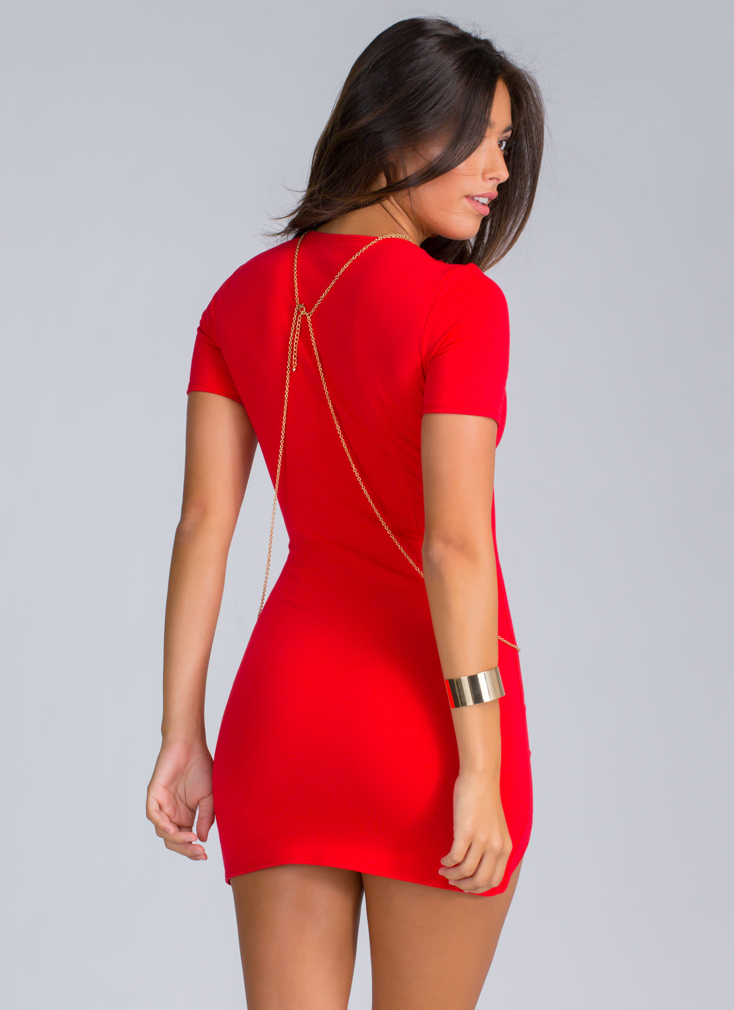 Thigh Hi And Hello Curved Hem Dress RED