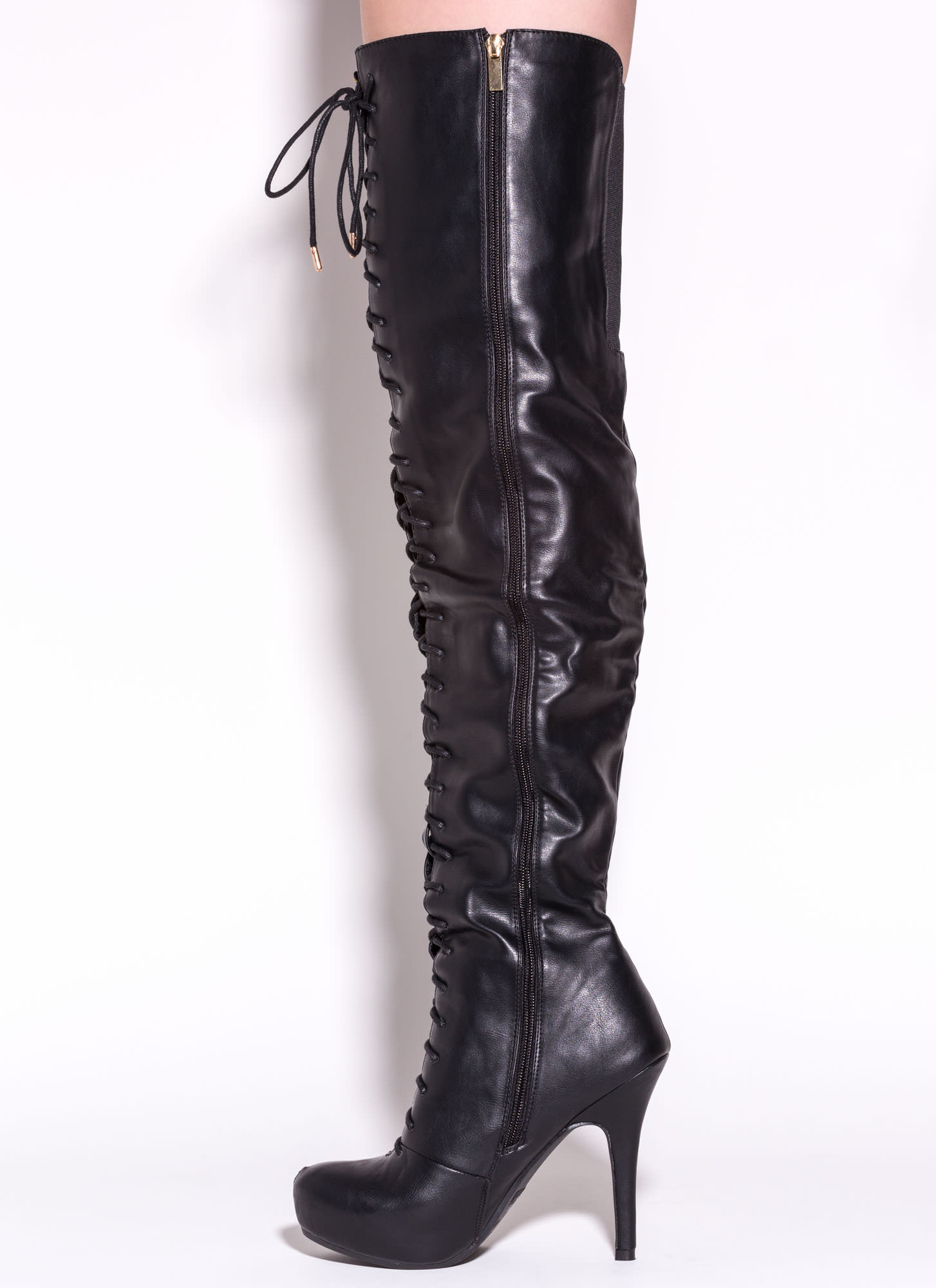 Strut It Out Faux Leather Boots BLACK (Final Sale)