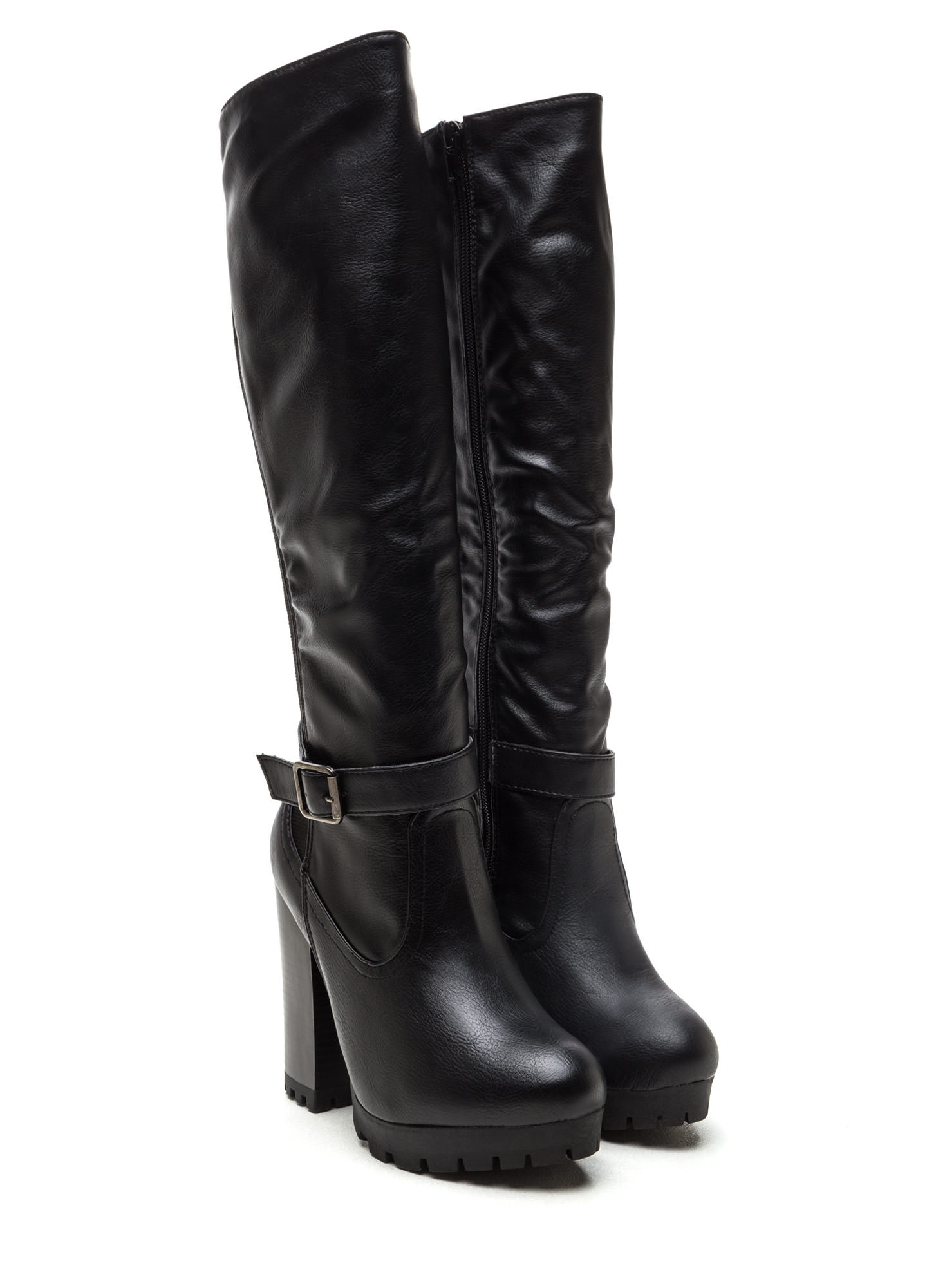 Chunky Factor Faux Leather Lug Boots BLACK
