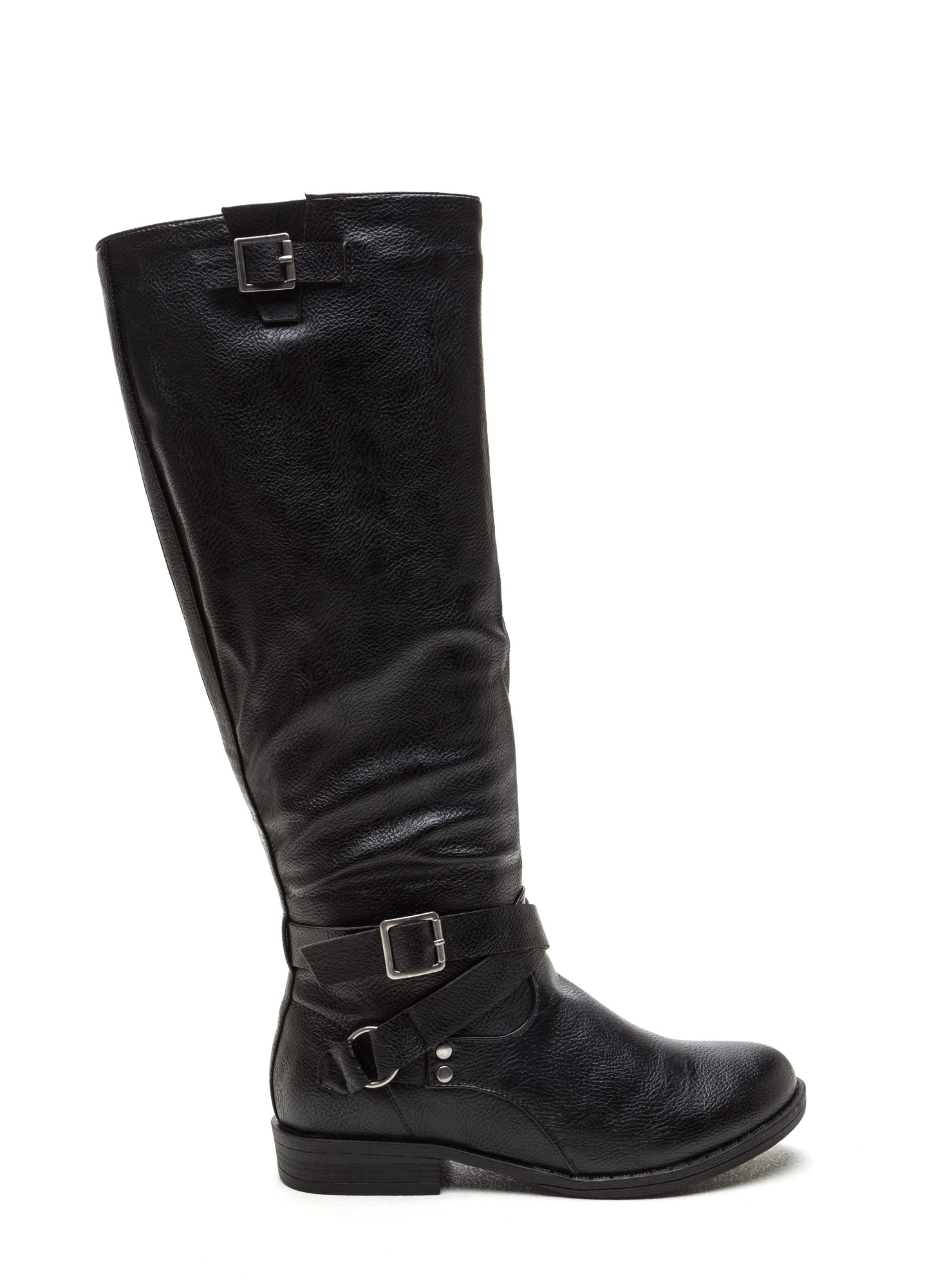 Straps And Buckles Faux Leather Boots BLACK