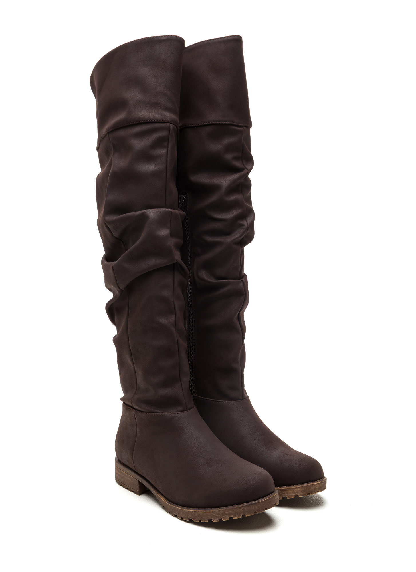 Ground Level Faux Nubuck Boots BROWN