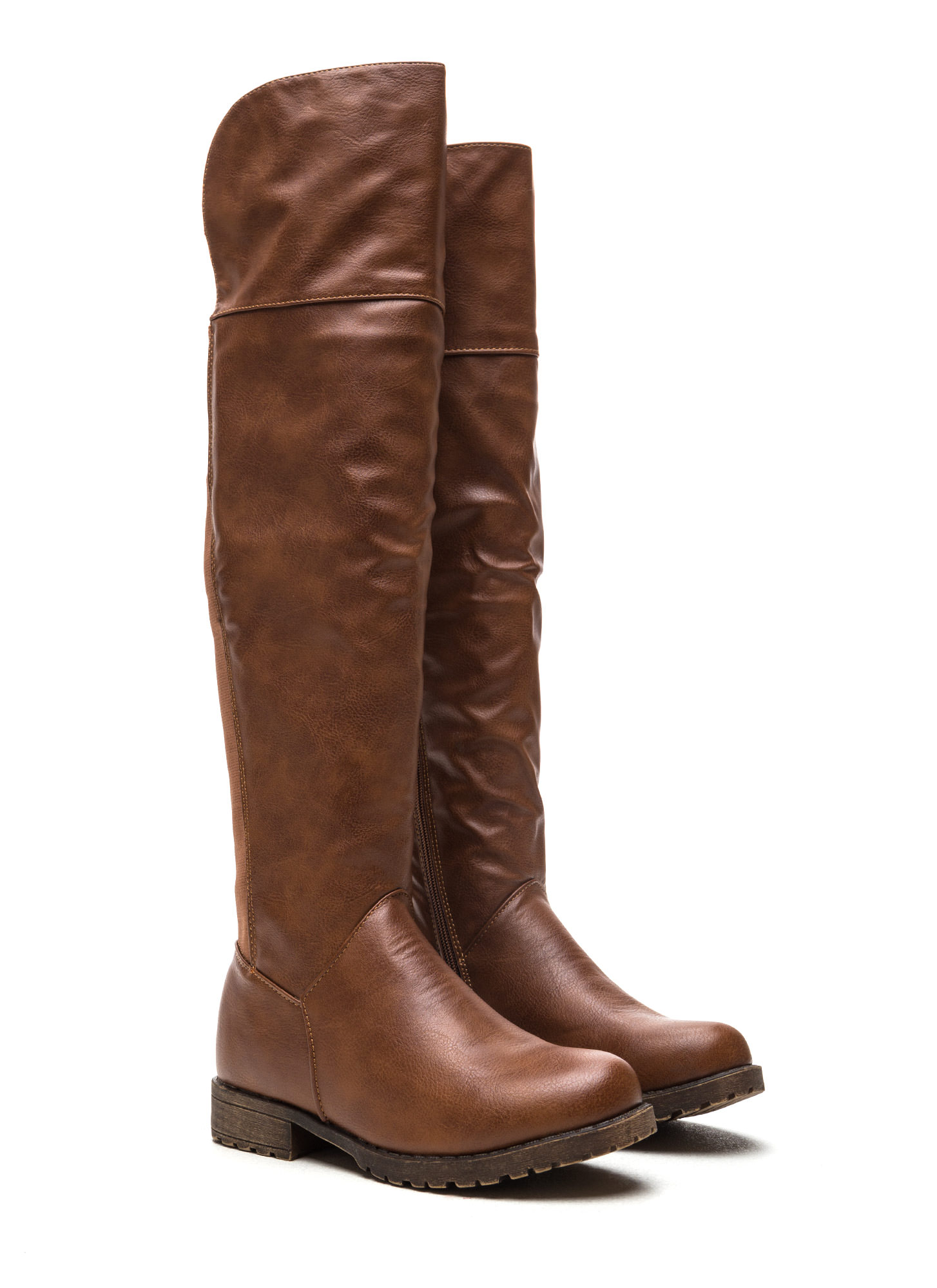 Ground Up Faux Leather Boots CHESTNUT