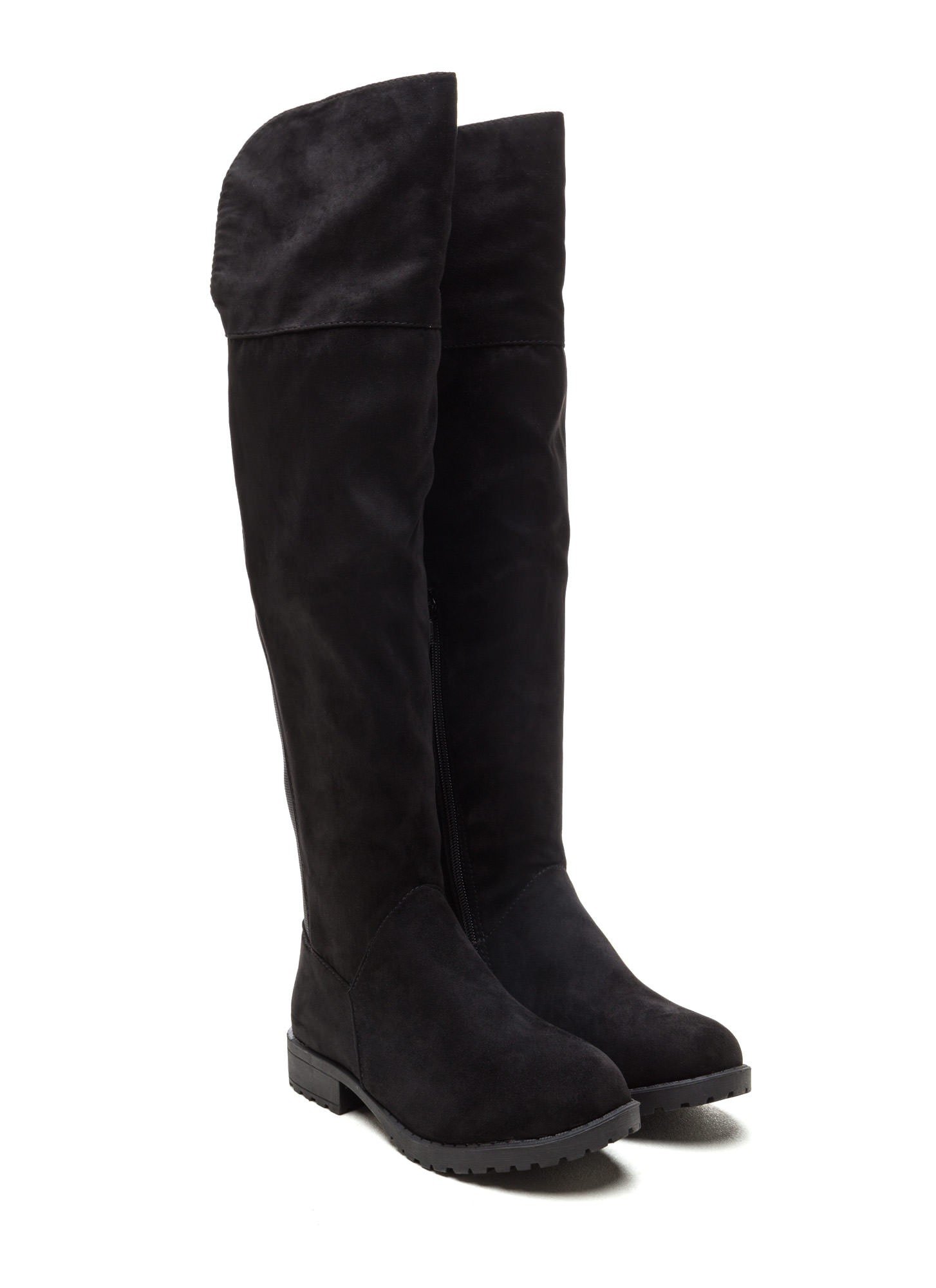 Ground Up Faux Suede Boots BLACK