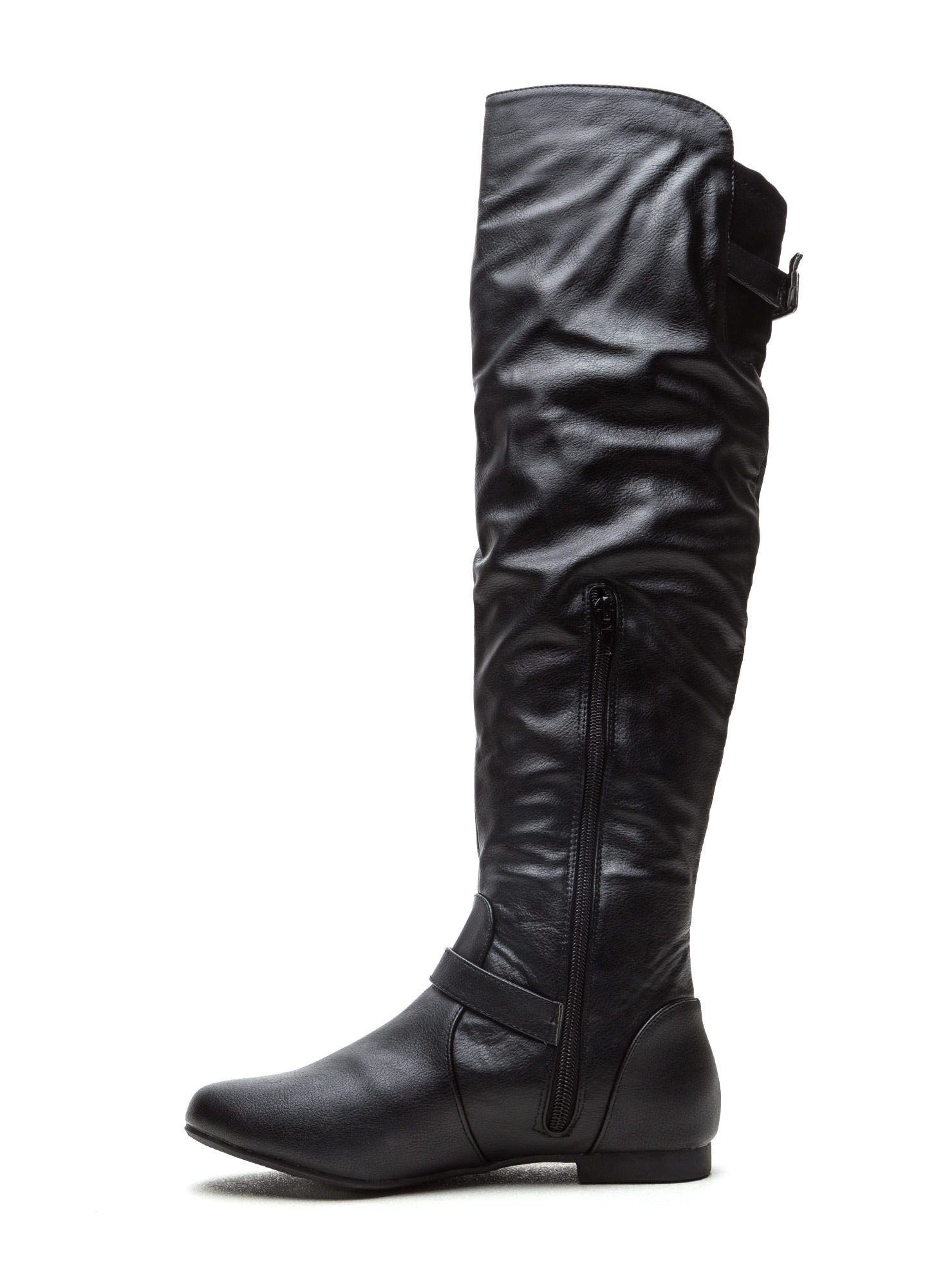 Ride On Faux Leather Buckled Boots BLACK
