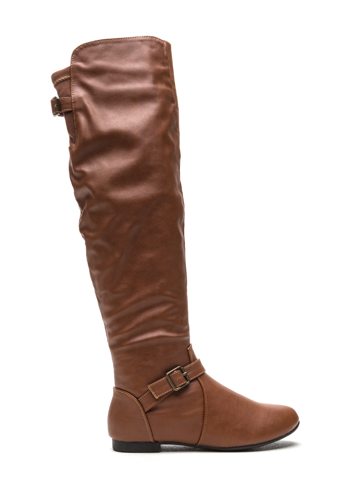Ride On Faux Leather Buckled Boots CHESTNUT
