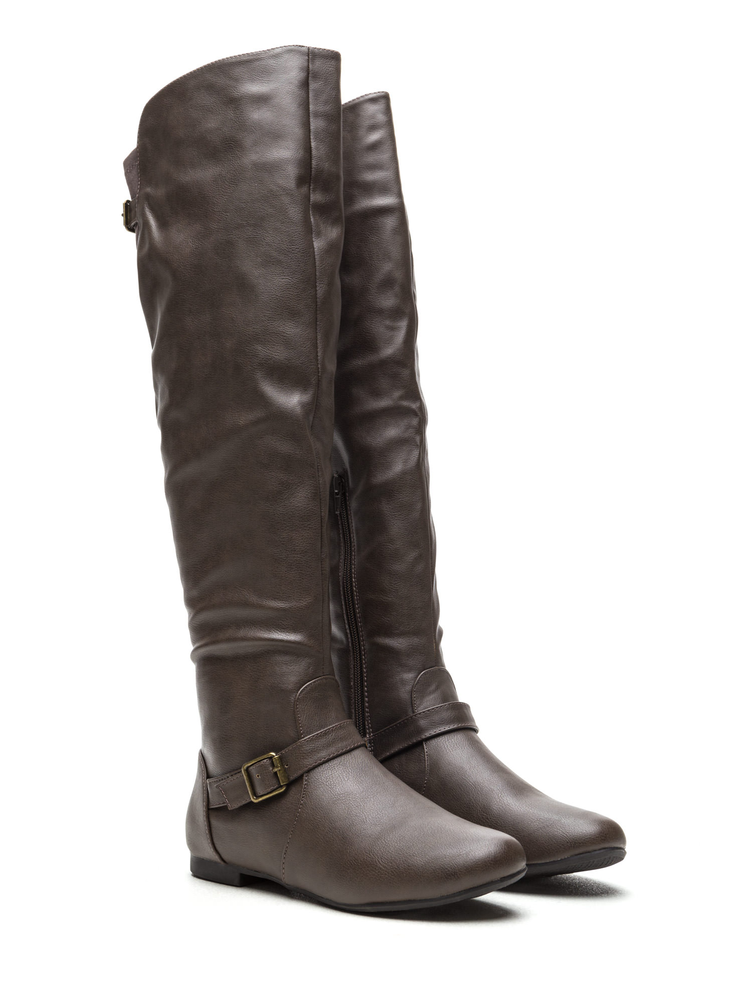 Ride On Faux Leather Buckled Boots TAUPE