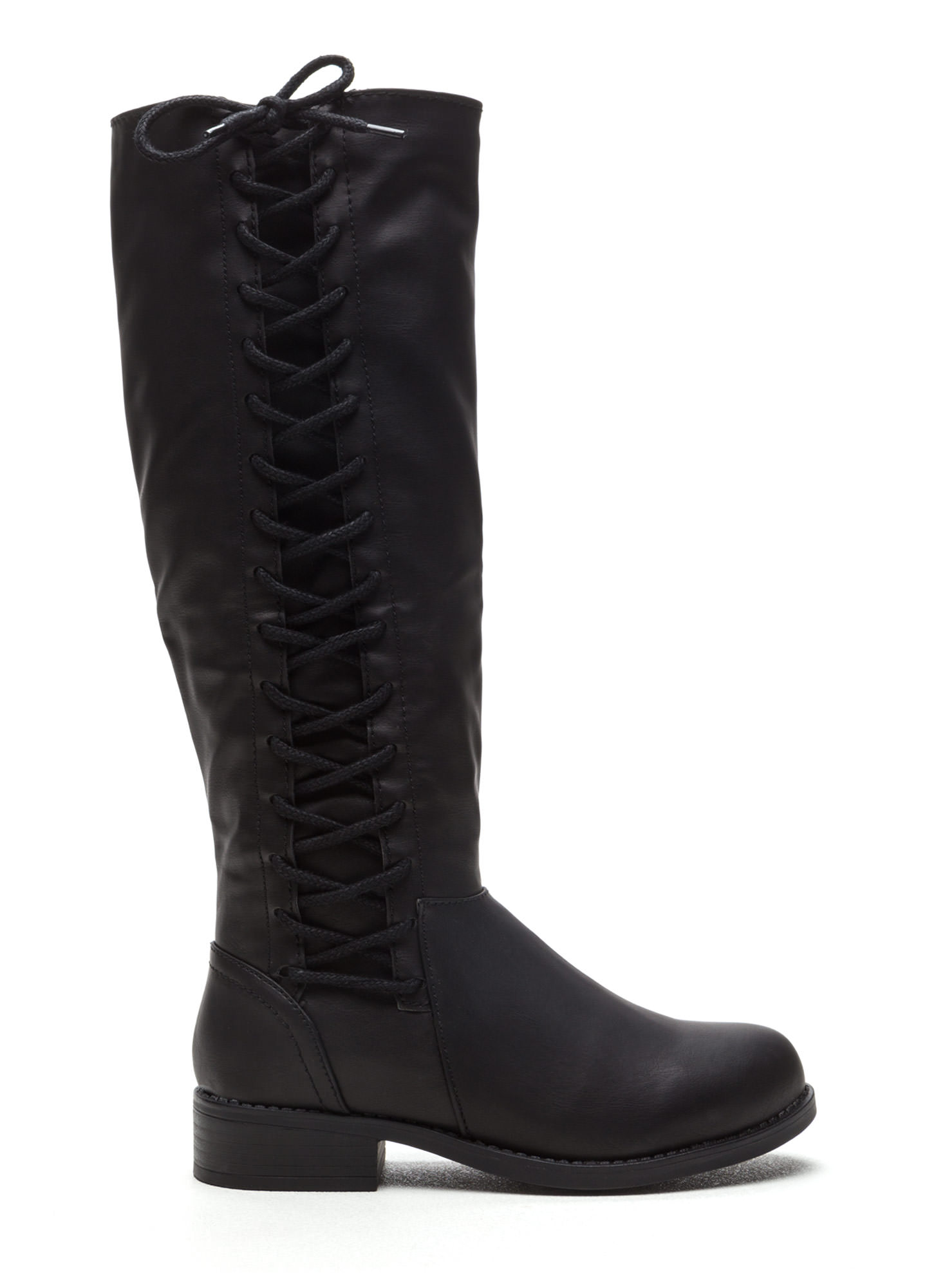 Laced The Test Faux Leather Boots BLACK