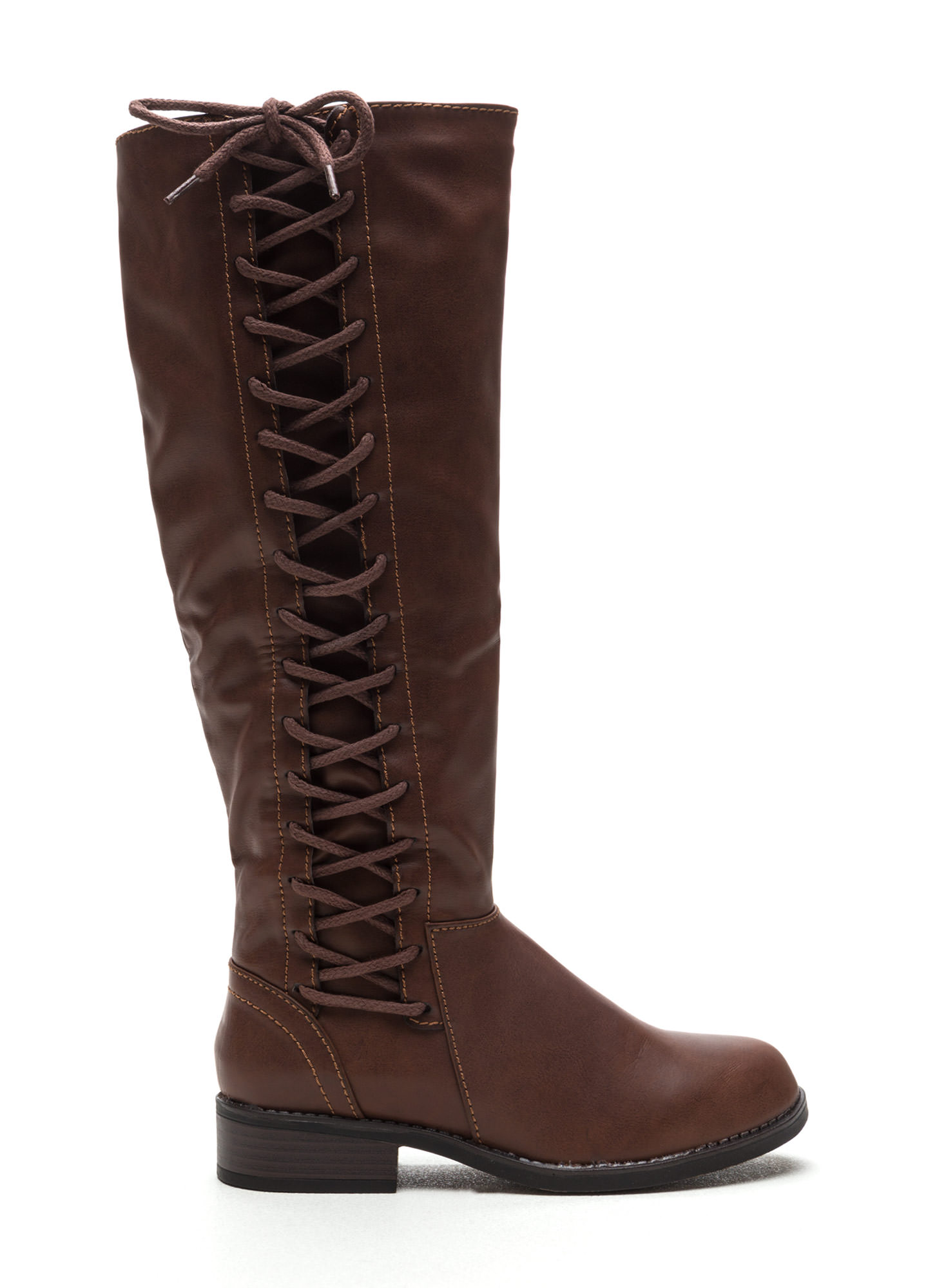 Laced The Test Faux Leather Boots BROWN
