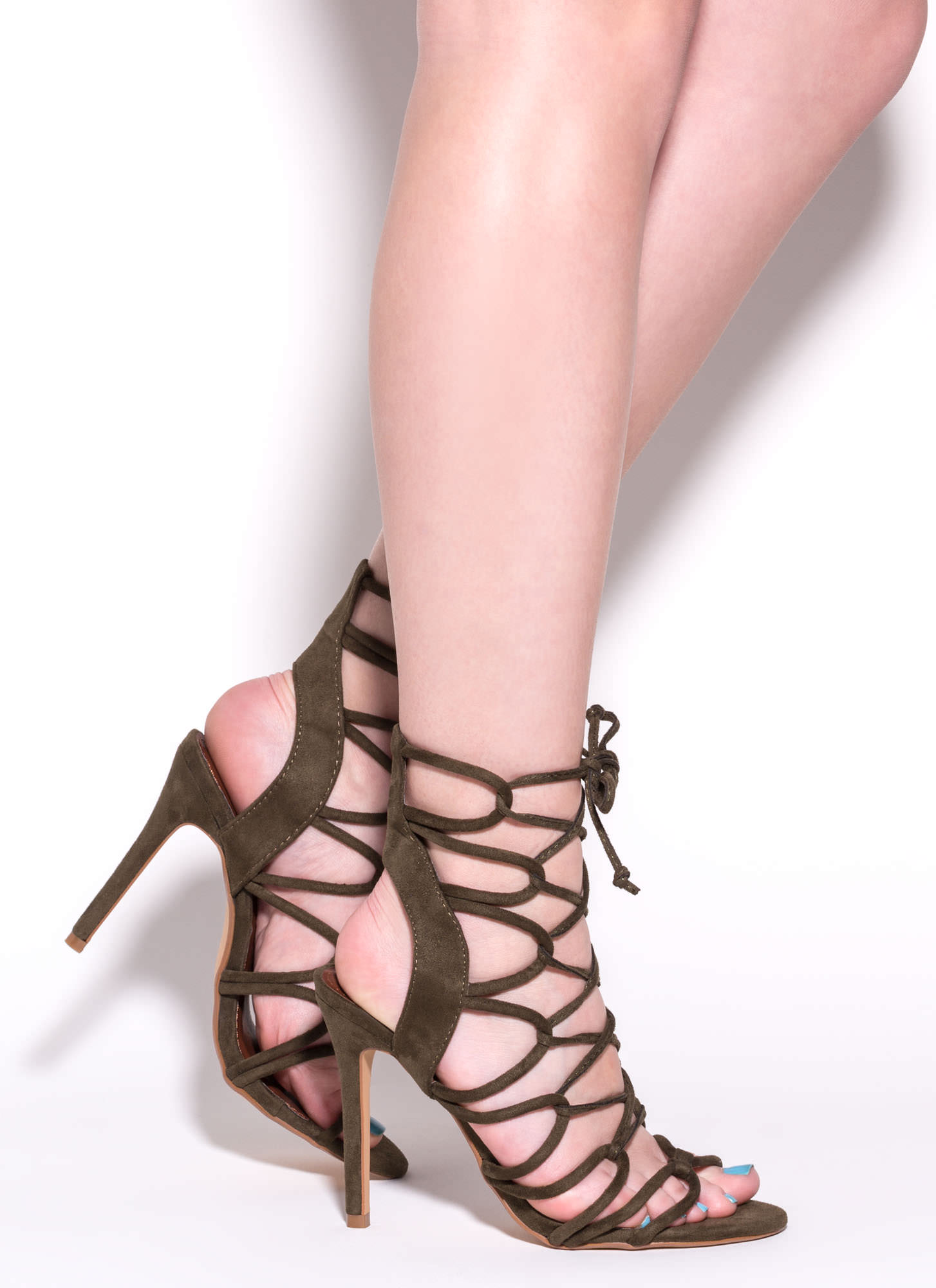 In A Web Faux Suede Heels OLIVE