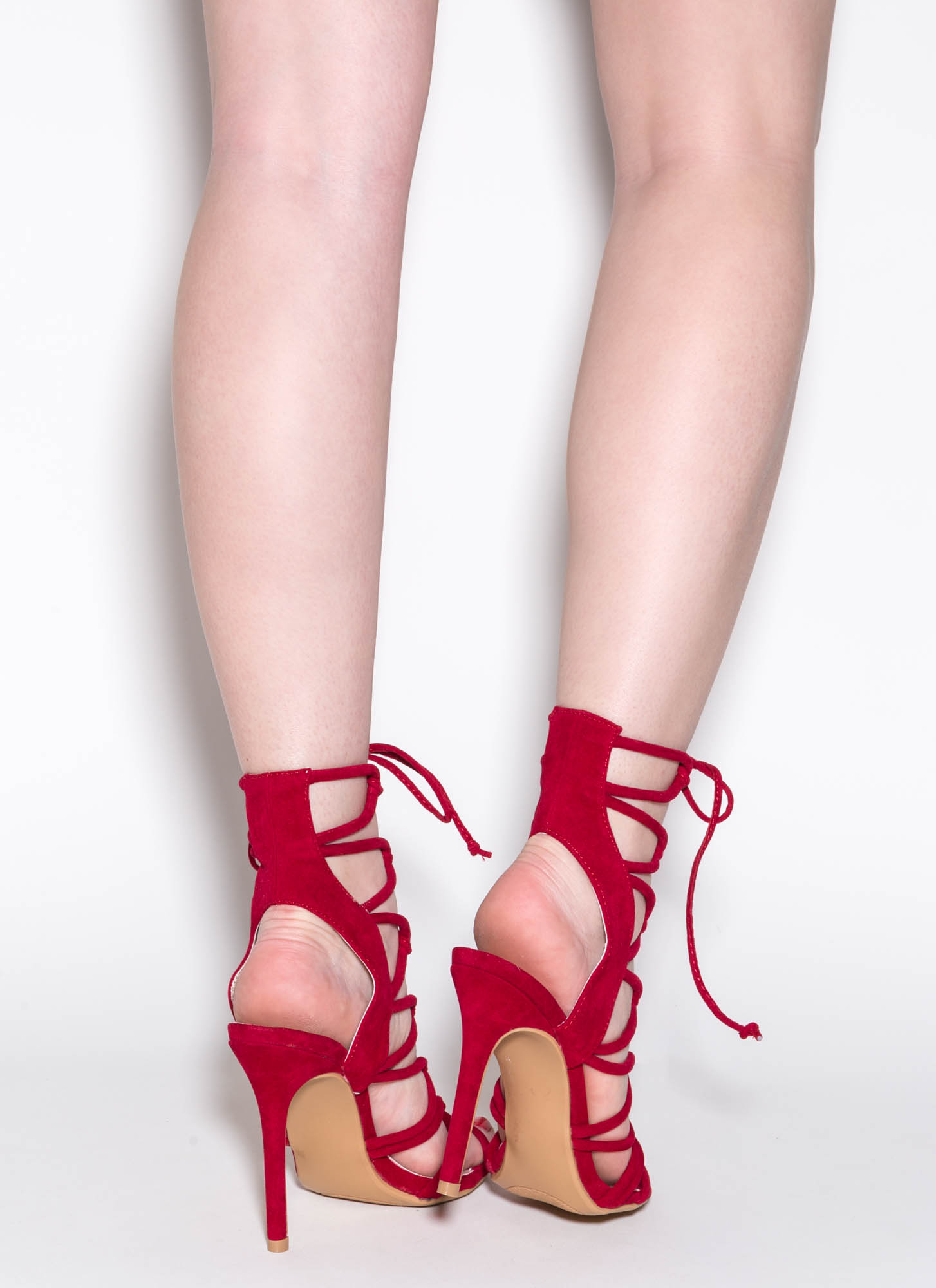 In A Web Faux Suede Heels RED