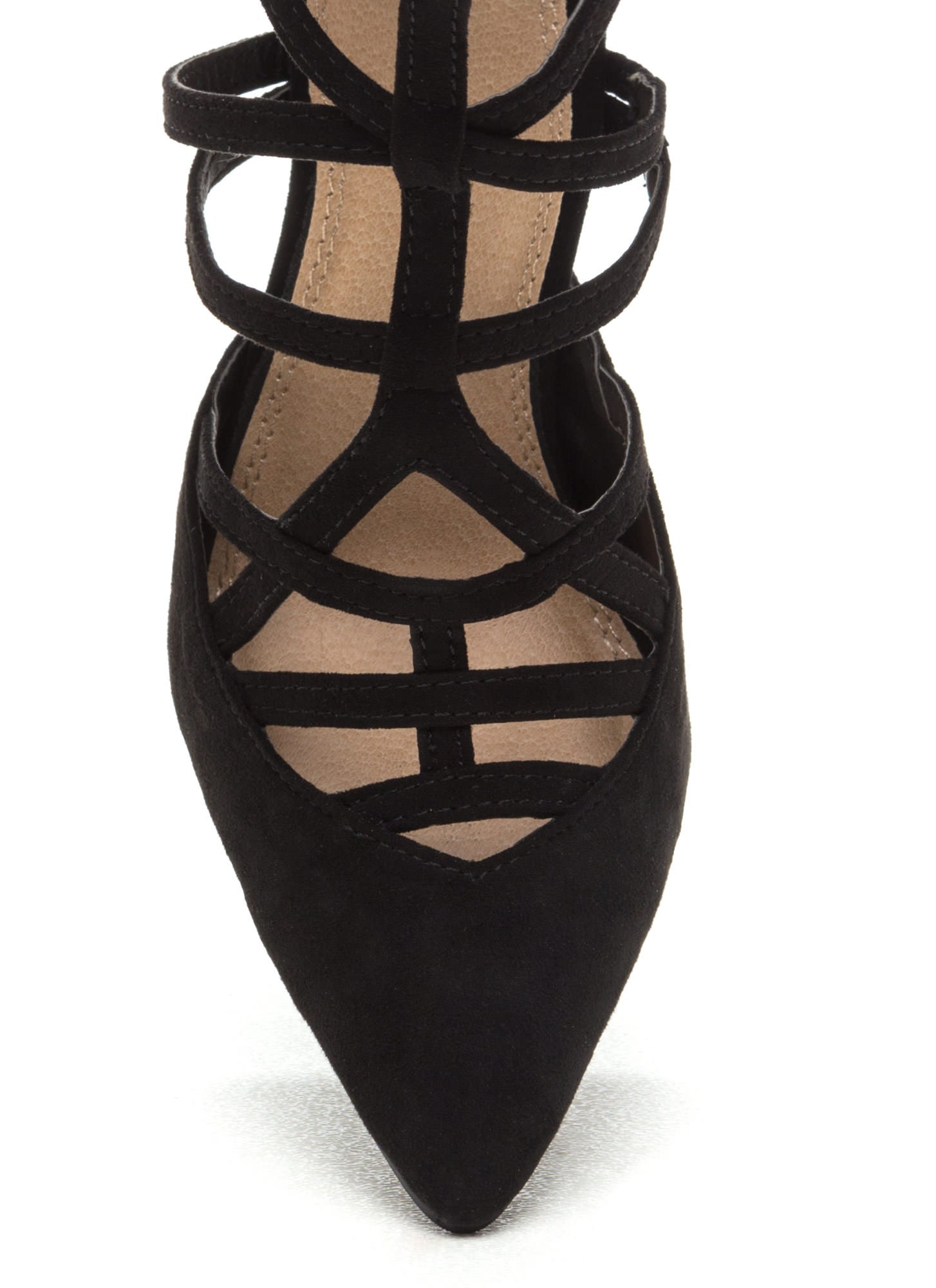 Caged Over Faux Suede Heels BLACK