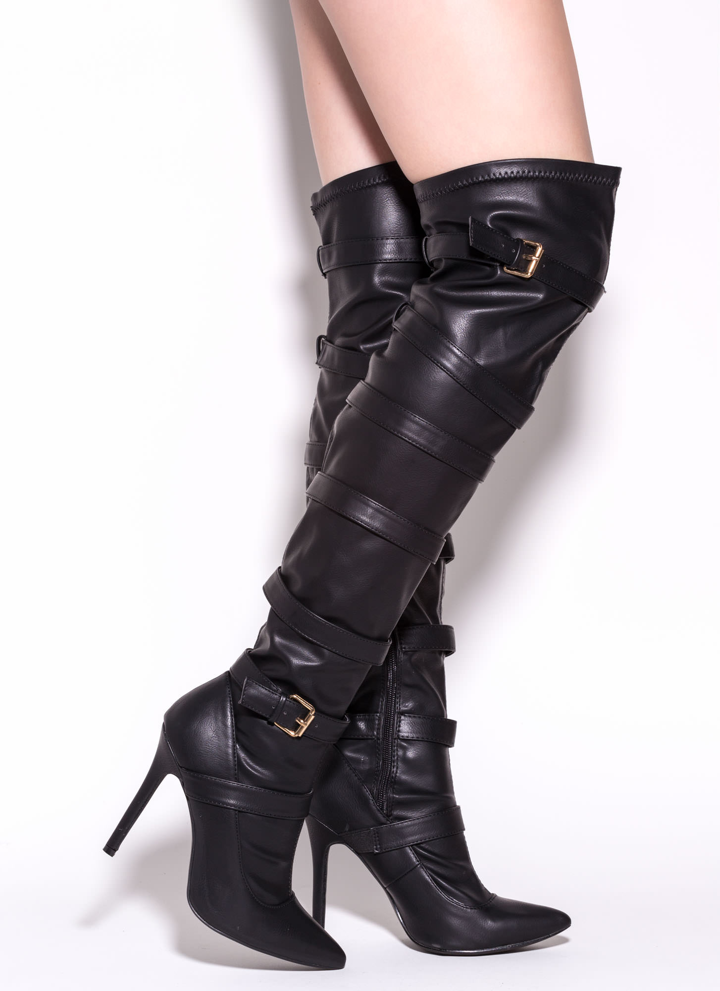 Strap 2 The Top Over-The-Knee Boots BLACK