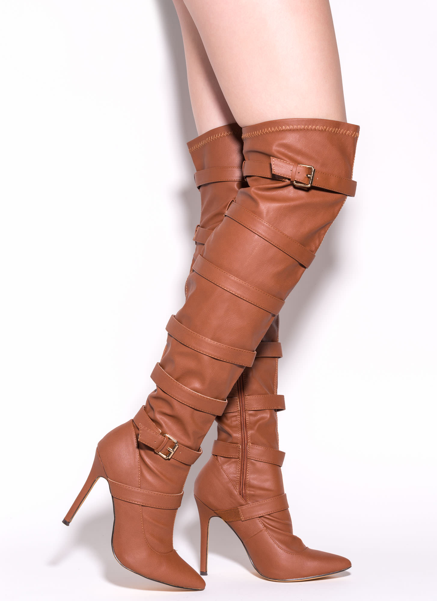 Strap 2 The Top Over-The-Knee Boots COGNAC