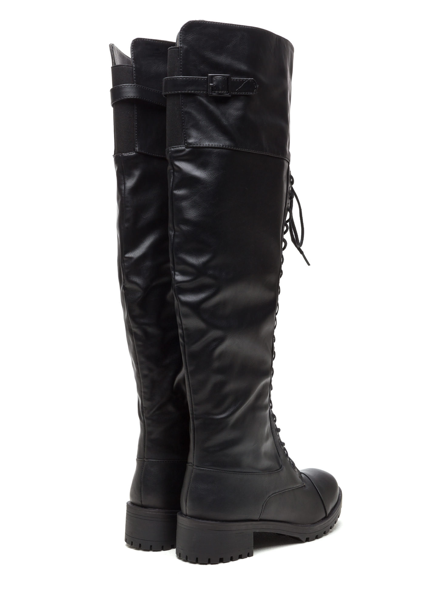 Tall Order Chunky Combat Boots BLACK