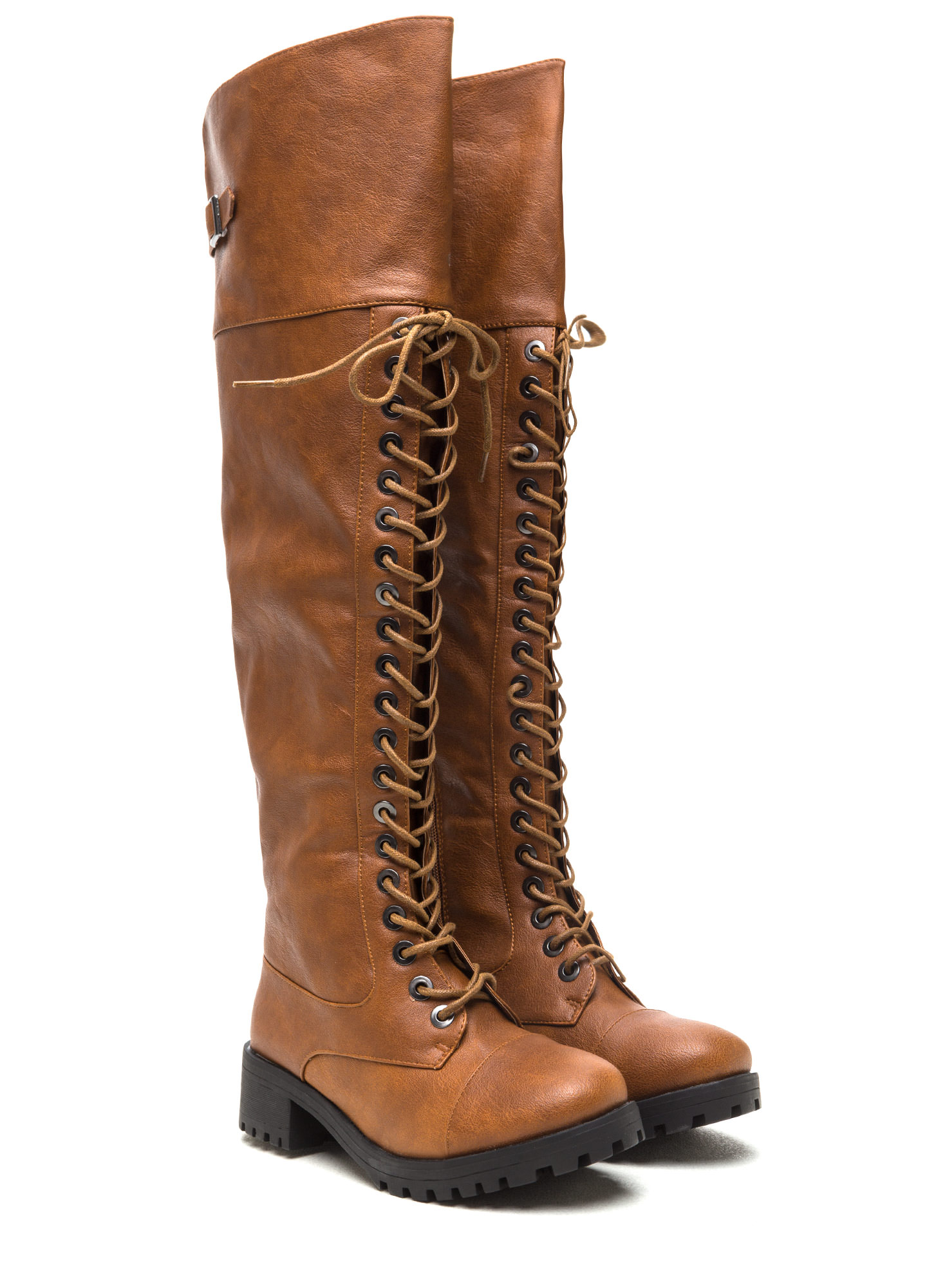 Tall Order Chunky Combat Boots CHESTNUT