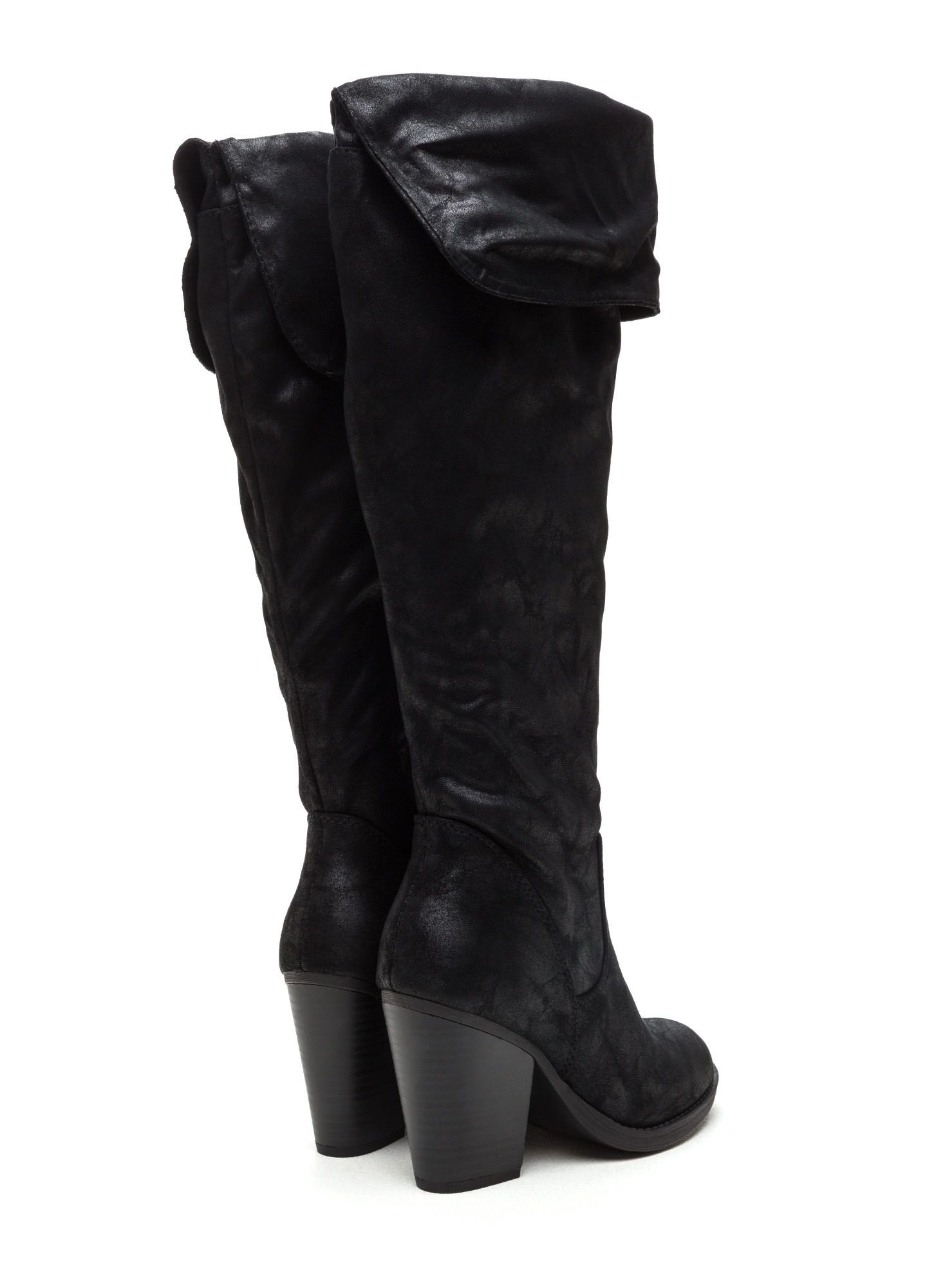 Know Your Cuff Faux Nubuck Boots BLACK