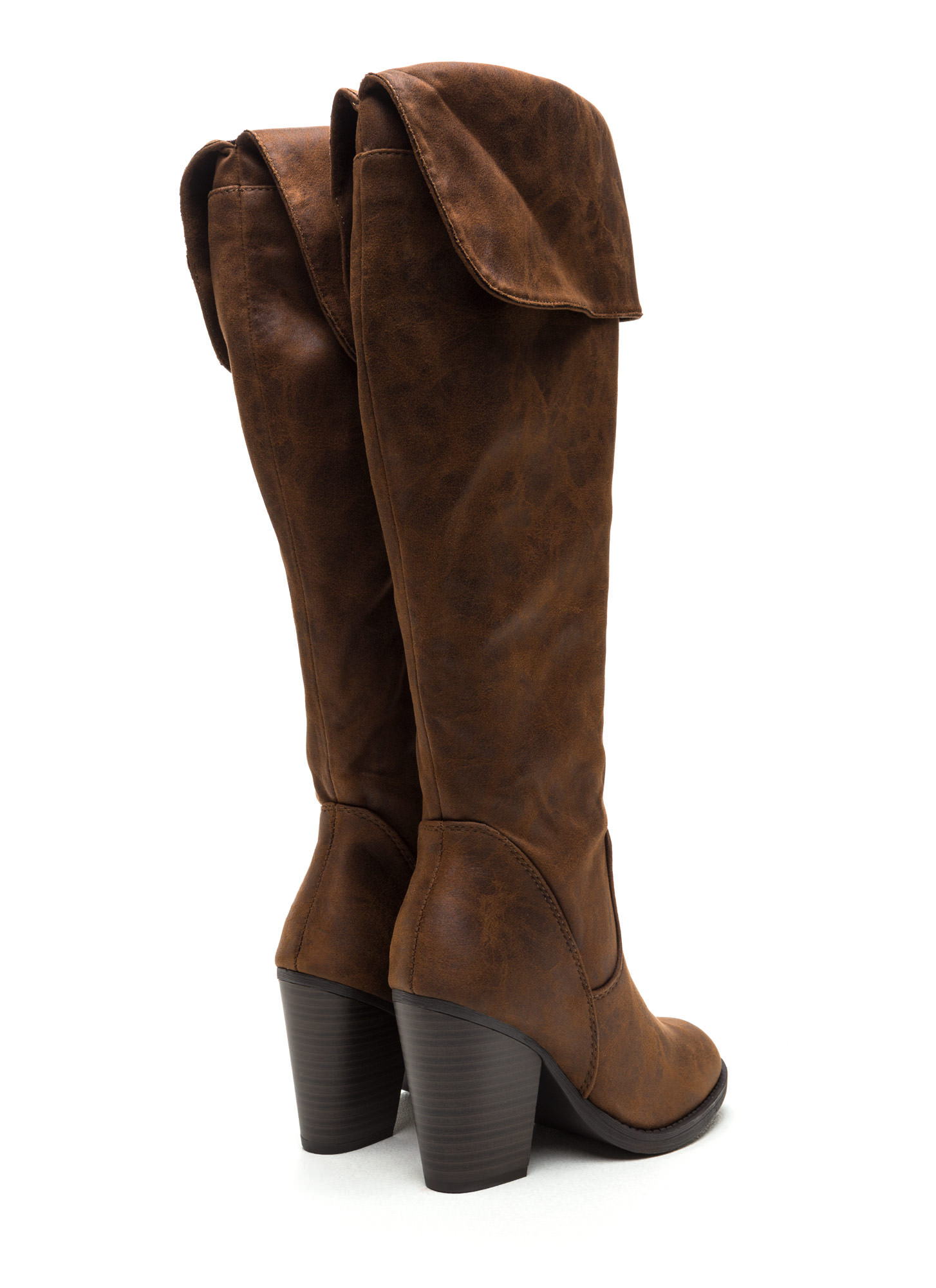 Know Your Cuff Faux Nubuck Boots BROWN