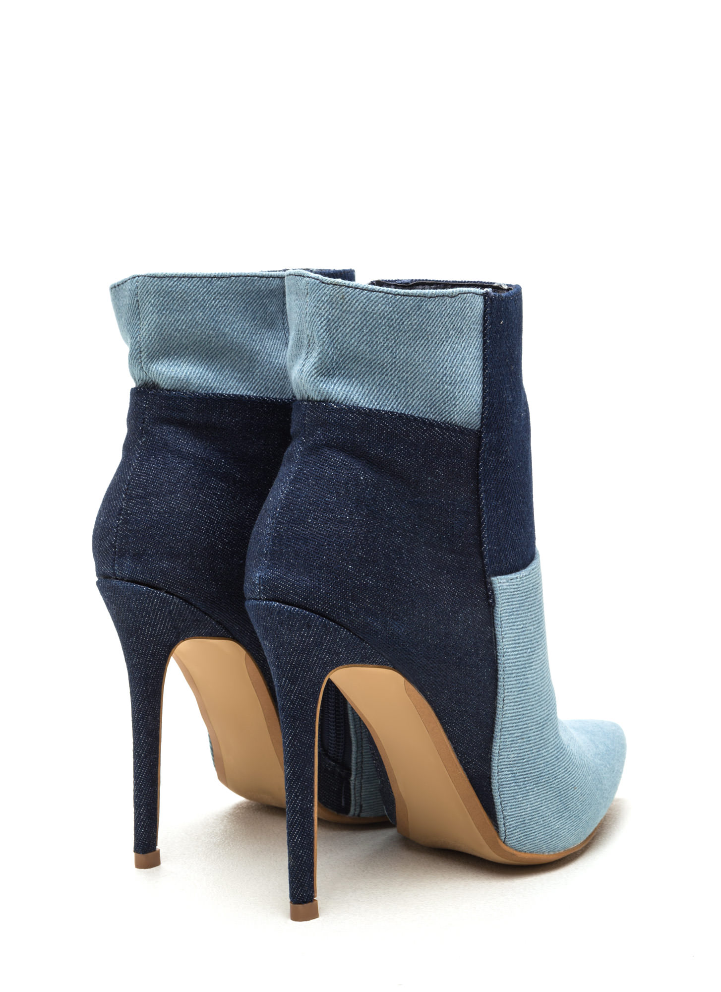 Light Or Dark Washed Denim Booties BLUE