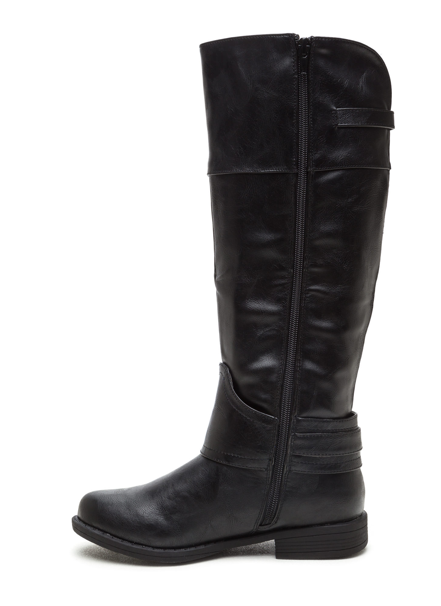 Harnessed In Faux Suede Riding Boots BLACK
