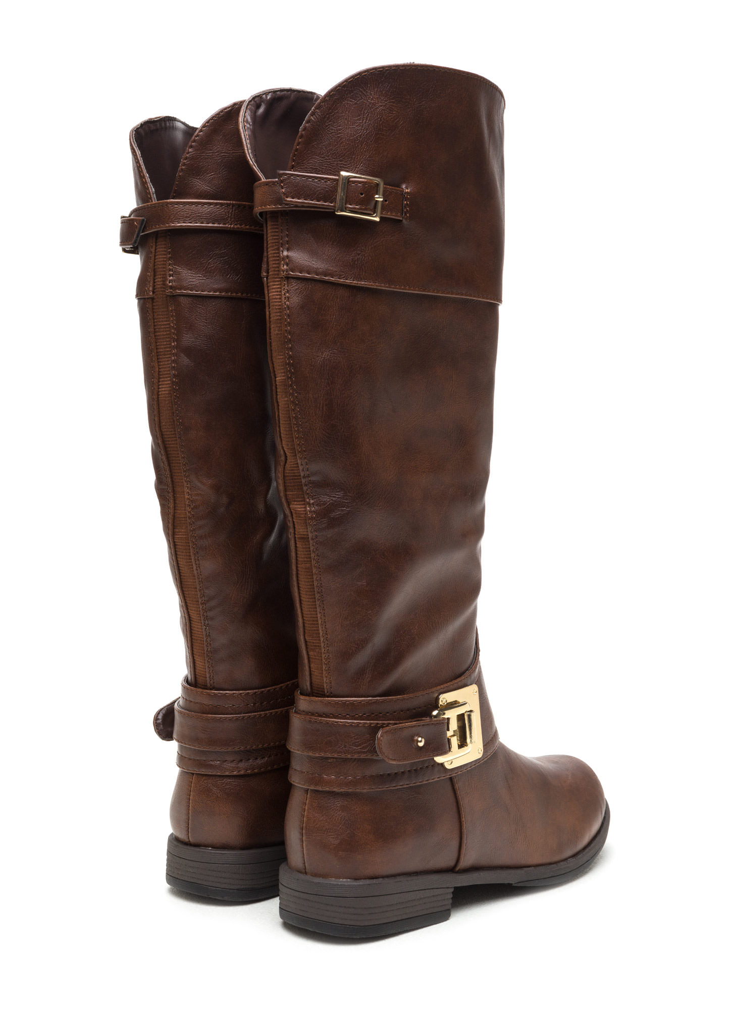 Harnessed In Faux Suede Riding Boots BROWN