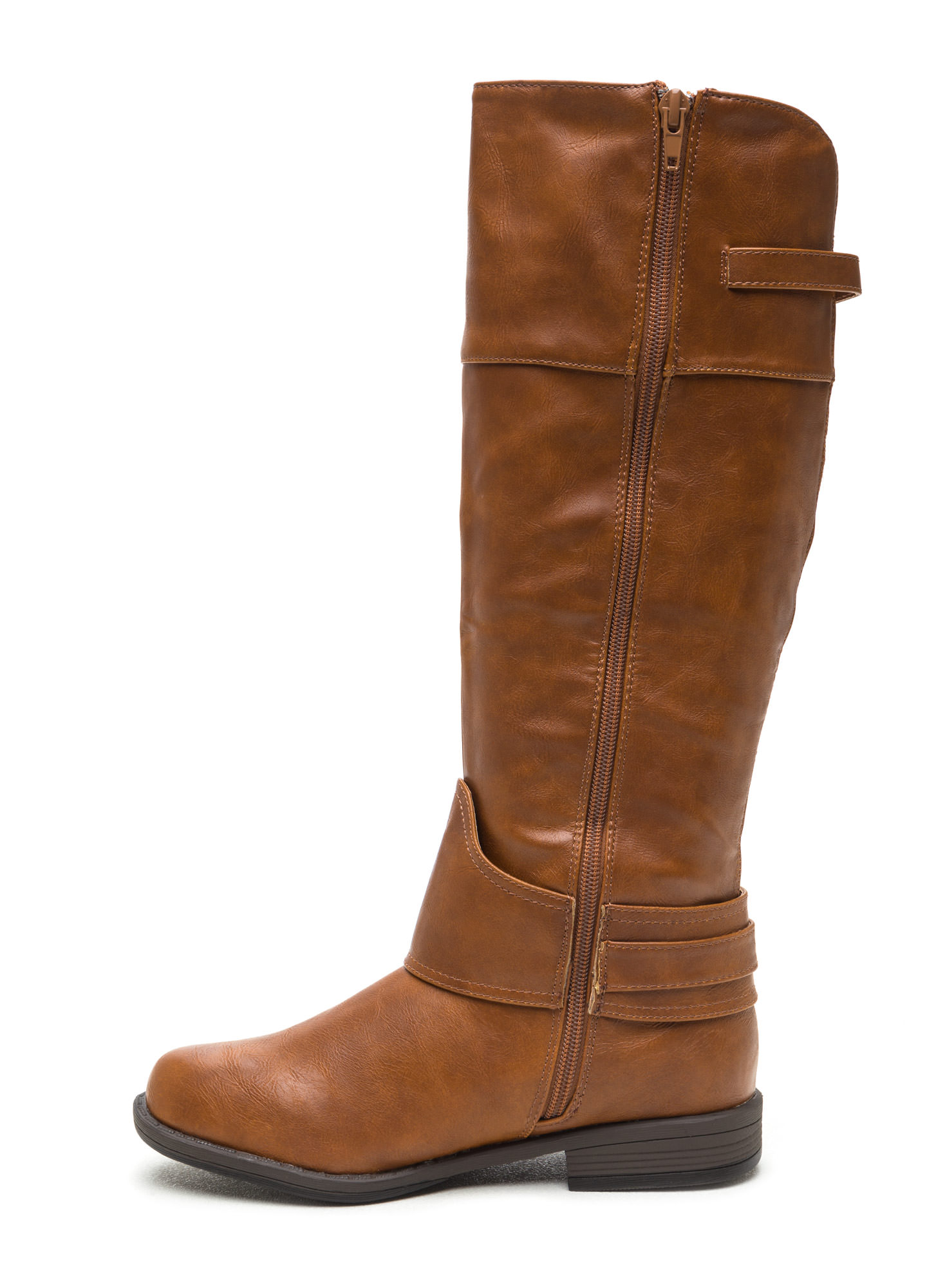Harnessed In Faux Suede Riding Boots CHESTNUT