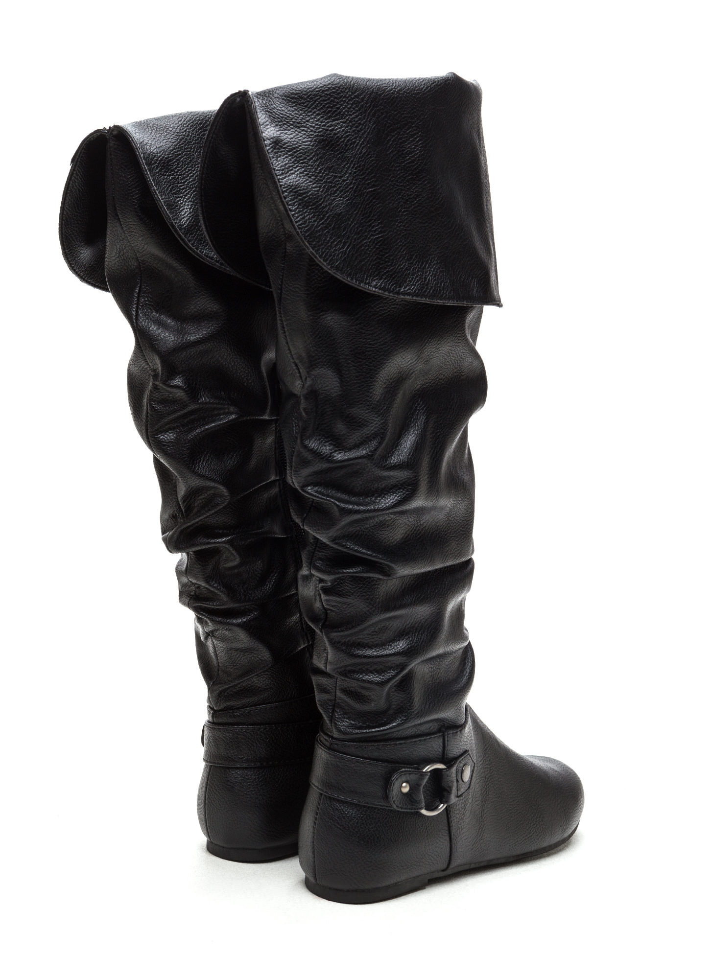 Cuff Love Slouchy Faux Leather Boots BLACK