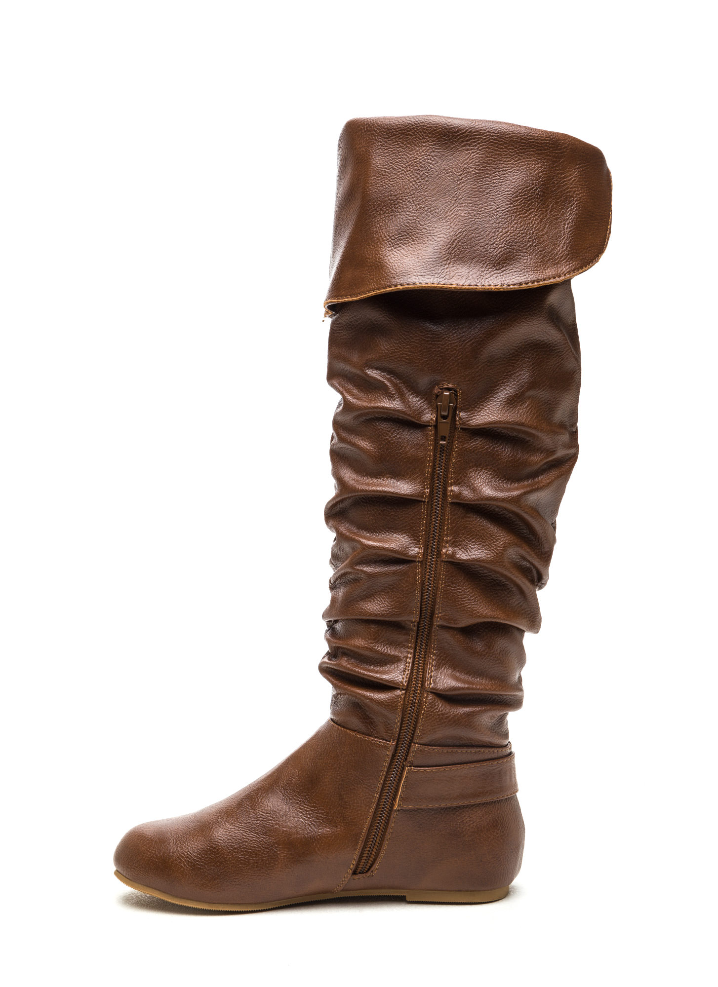 Cuff Love Slouchy Faux Leather Boots CHESTNUT
