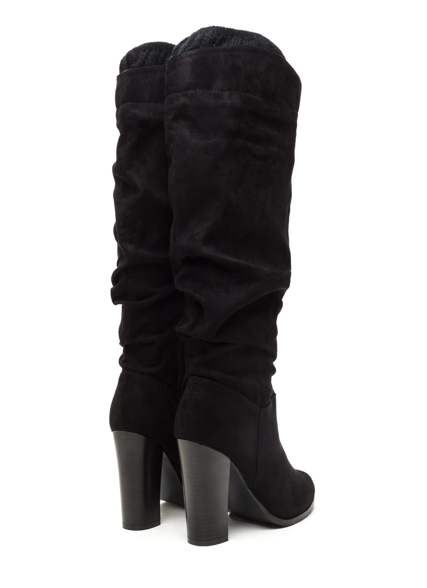 Cuff It Out Slouchy Faux Suede Boots BLACK