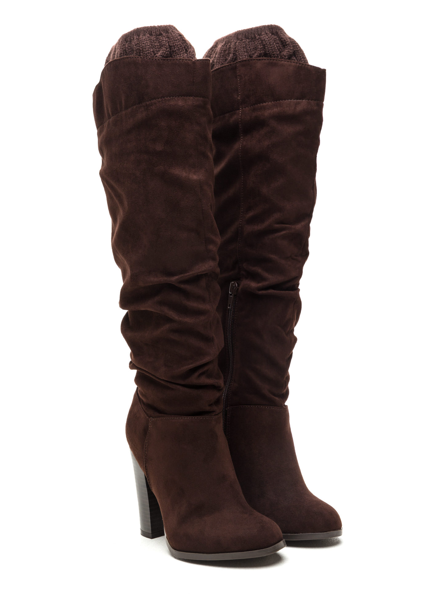 Cuff It Out Slouchy Faux Suede Boots BROWN