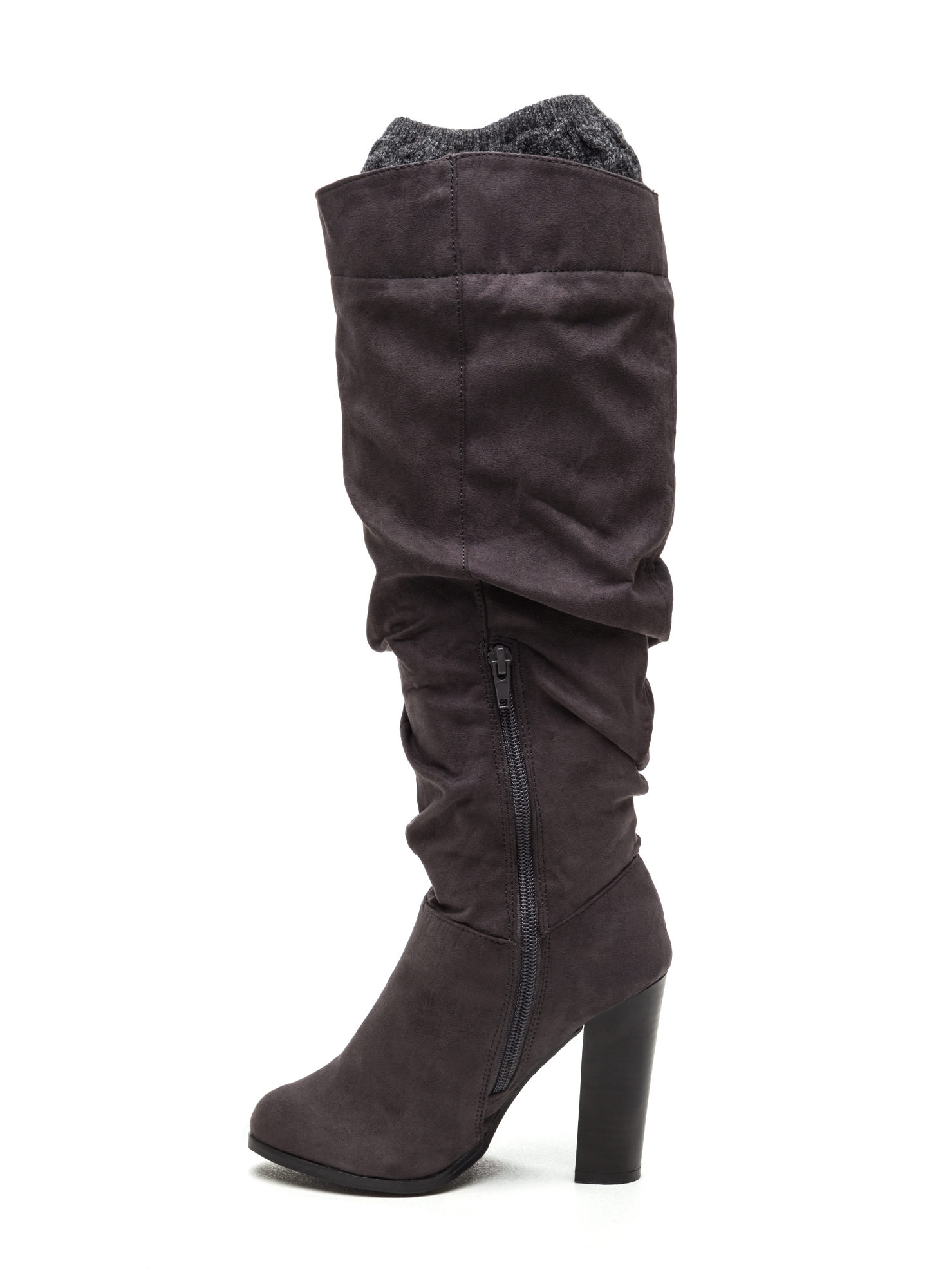 Cuff It Out Slouchy Faux Suede Boots CHARCOAL
