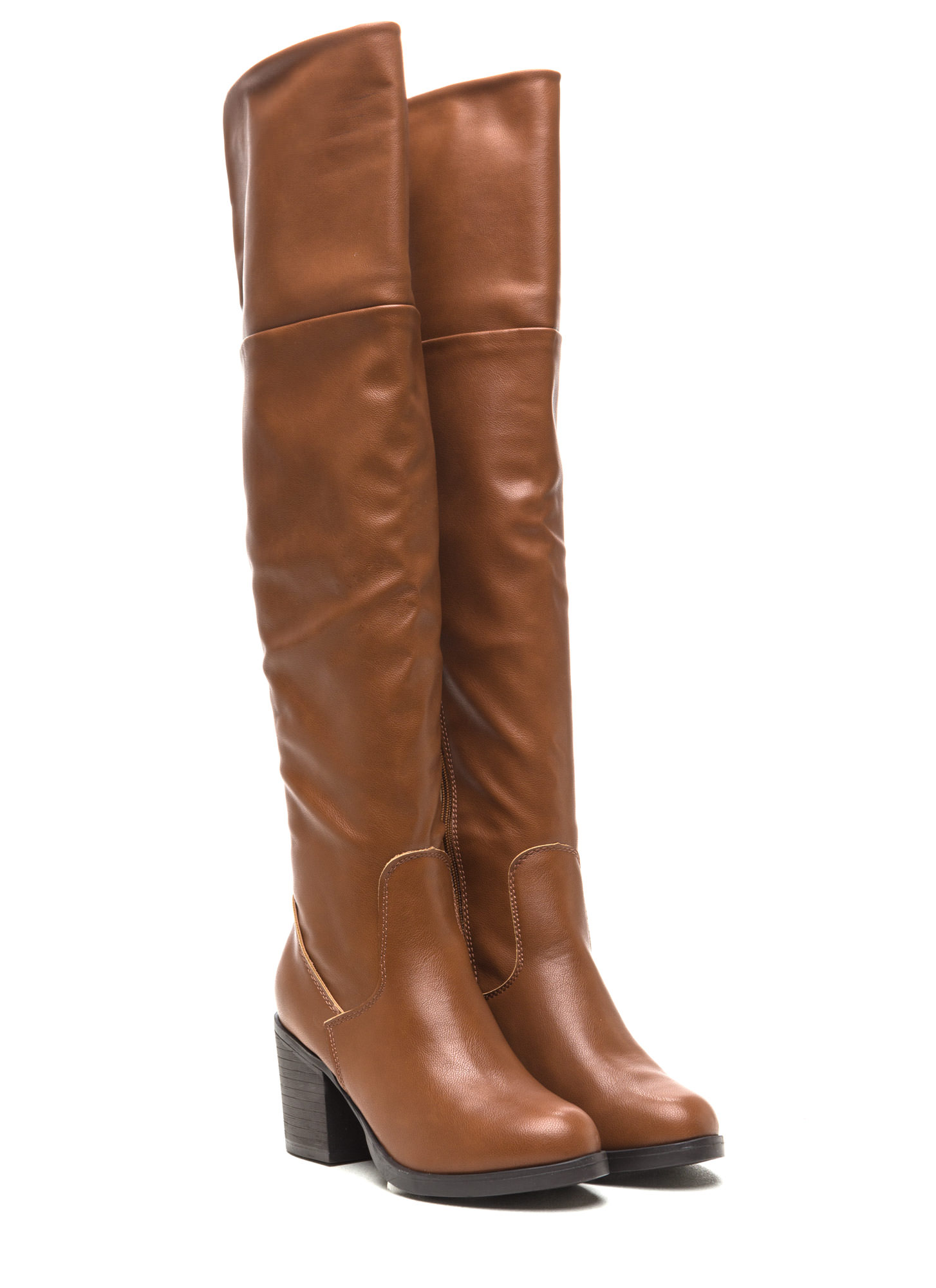 Notch Above Chunky Faux Leather Boots CHESTNUT