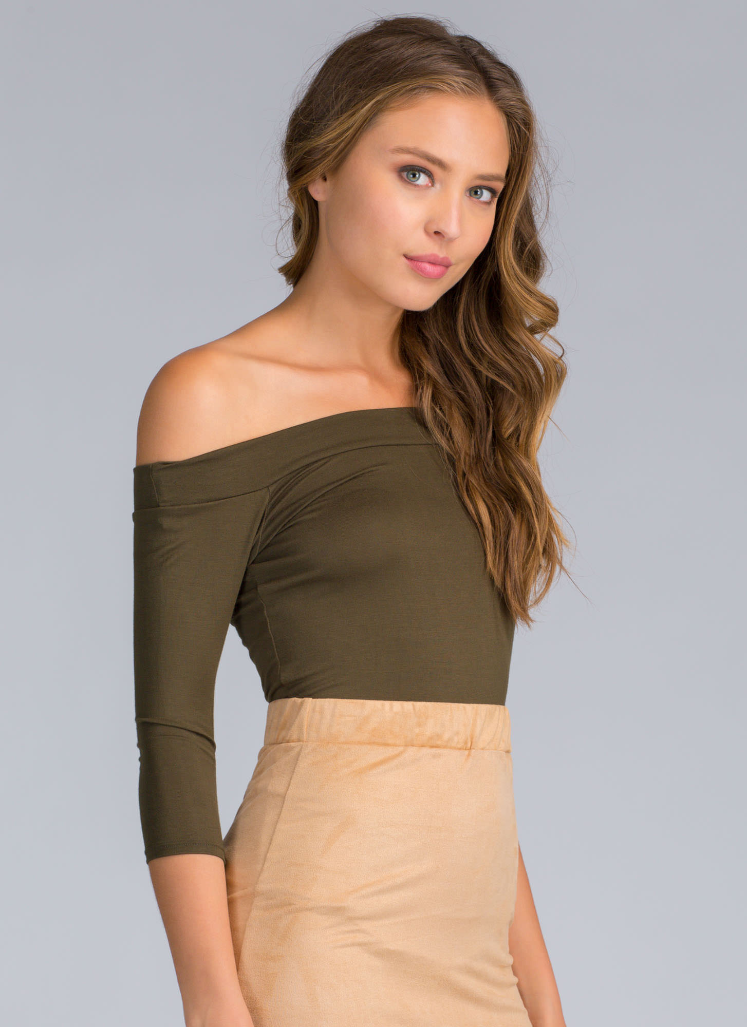 Simply Irresistible Off-The-Shoulder Top OLIVE