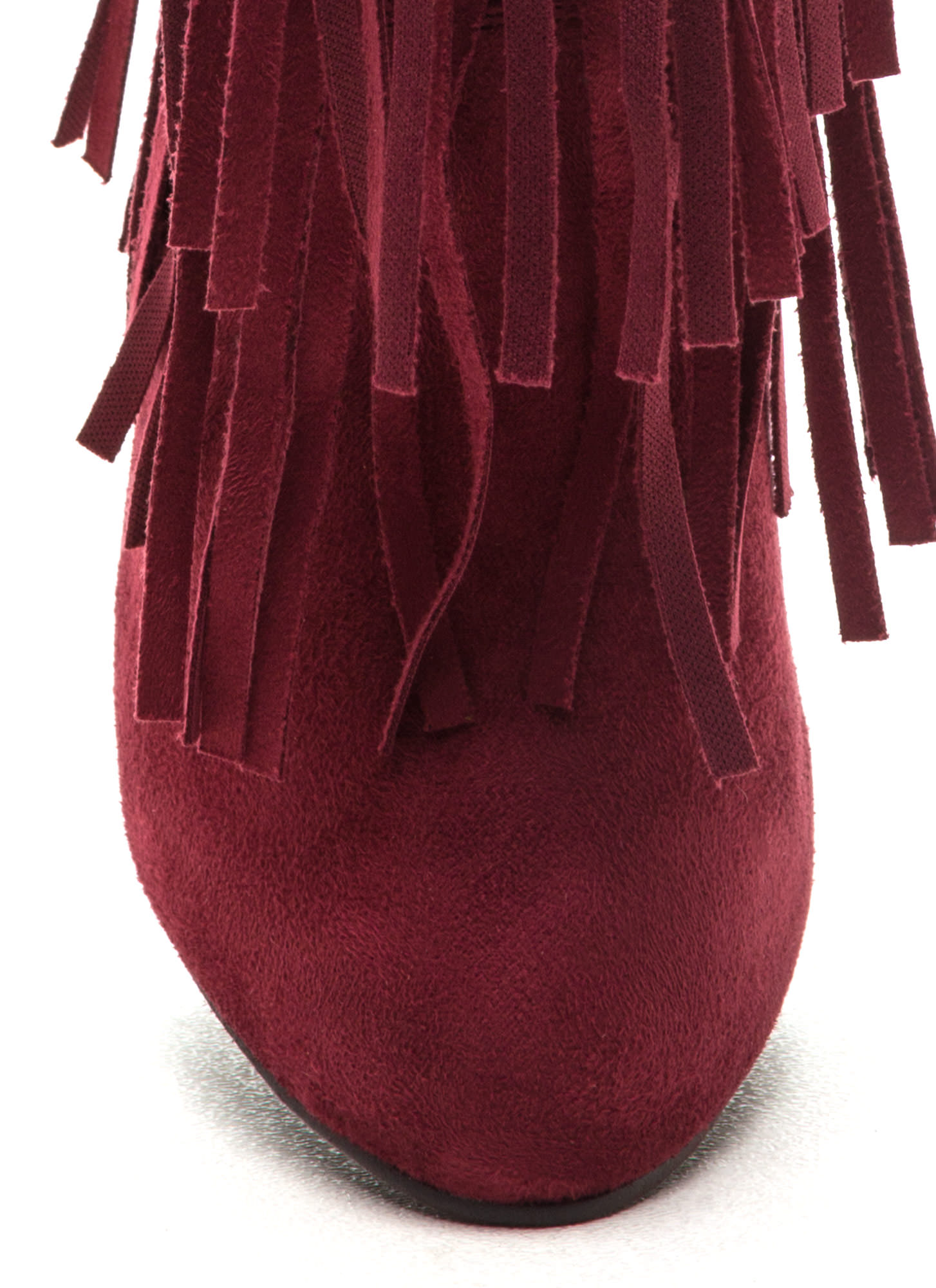 Focus On Fringe Faux Suede Booties BERRY