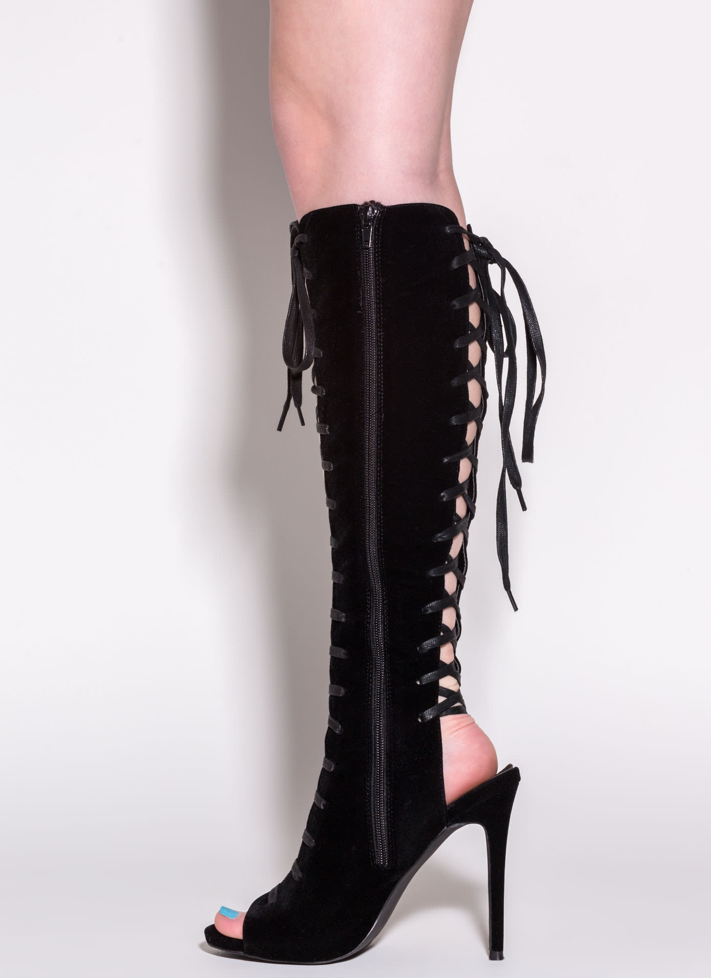 Front To Back Lace-Up Boots BLACK