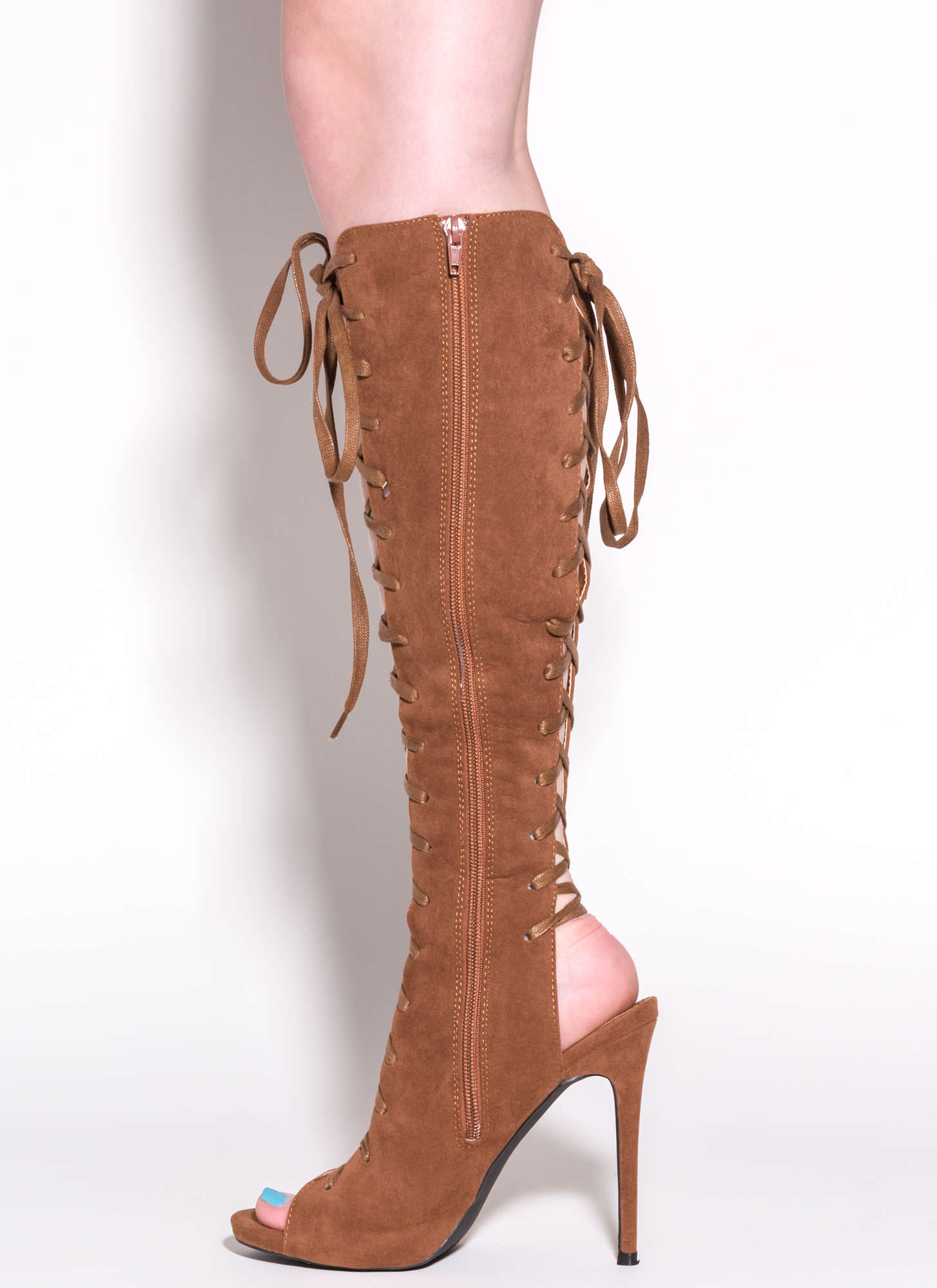 Front To Back Lace-Up Boots COGNAC