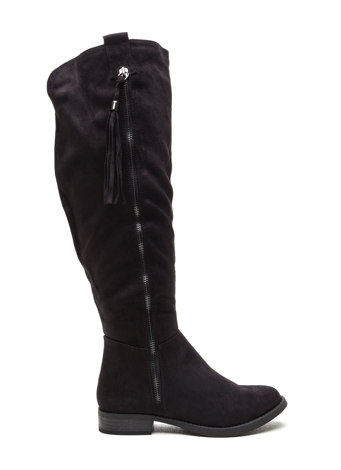 Time For Tassels Faux Suede Boots BLACK