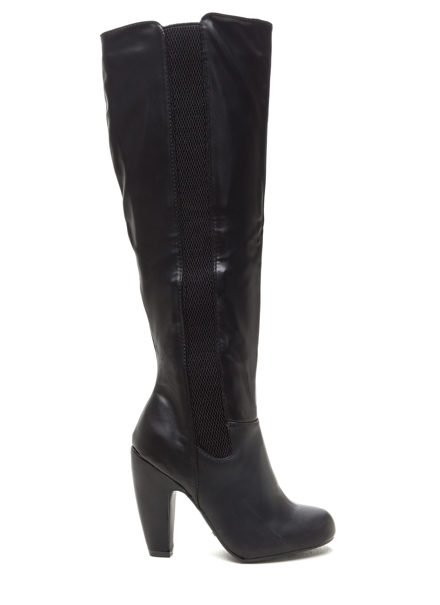 Smooth Over Faux Leather Boots BLACK