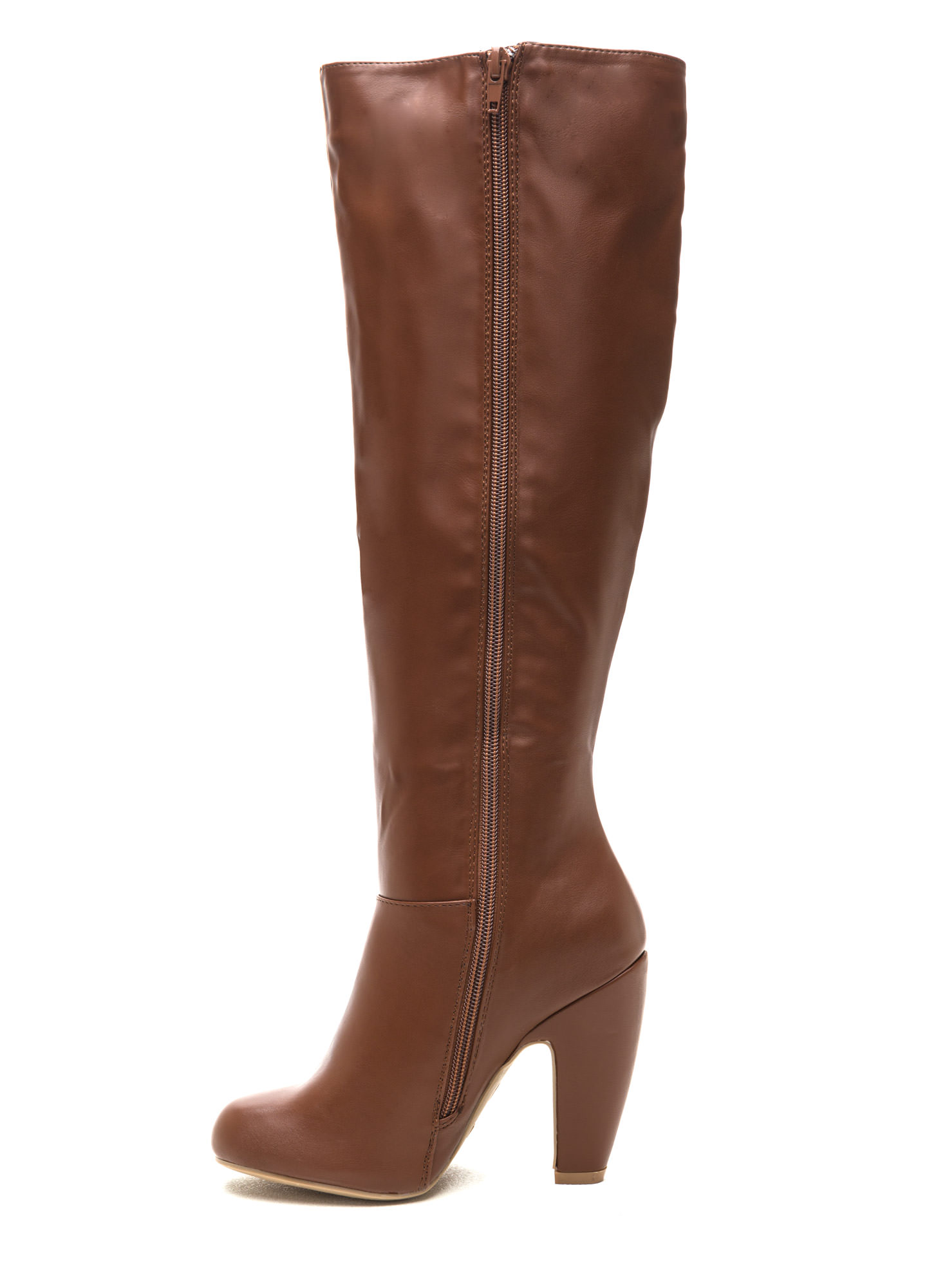Smooth Over Faux Leather Boots CHESTNUT