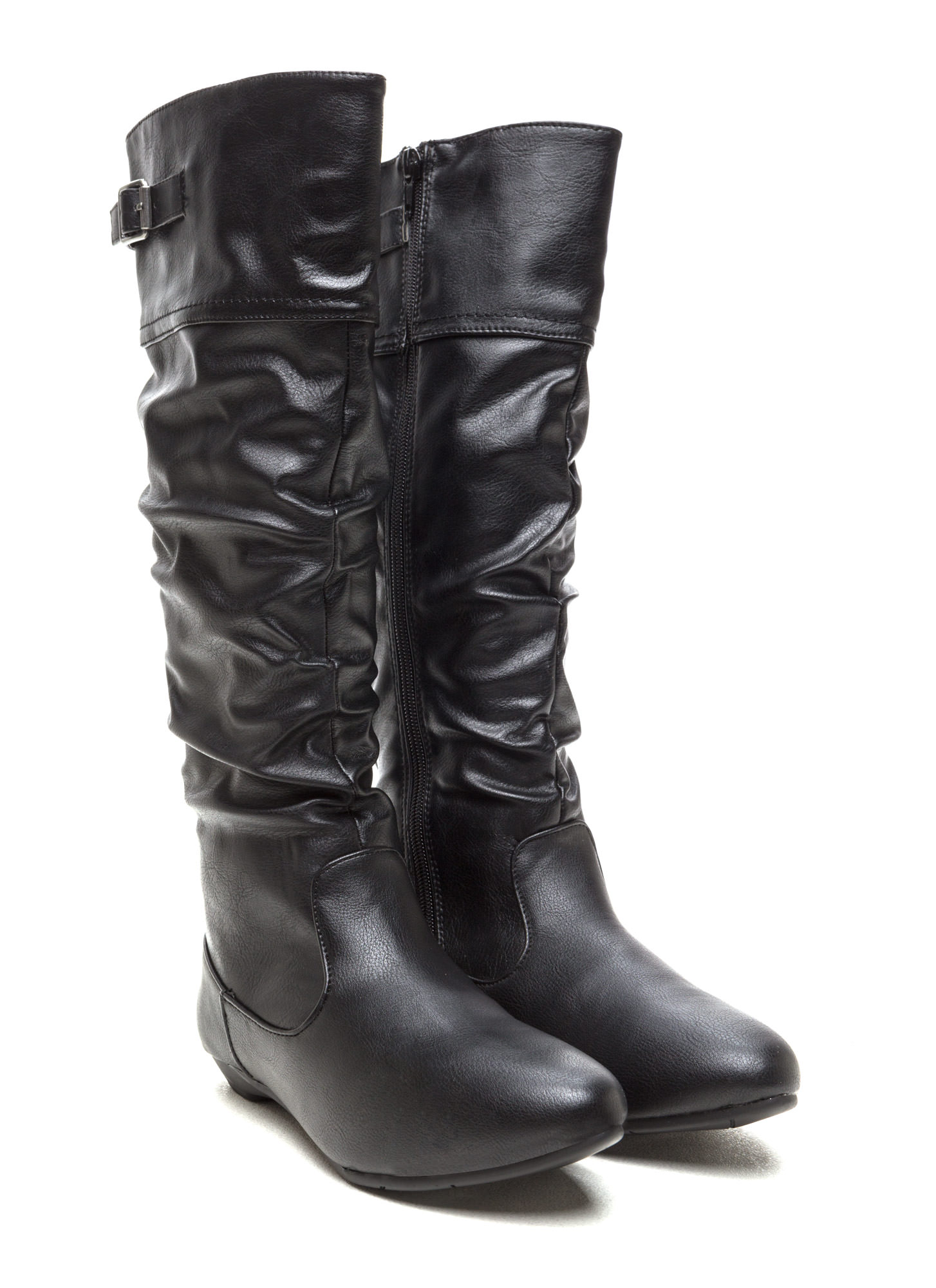 Strap 'Em Up Slouchy Knee-High Boots BLACK