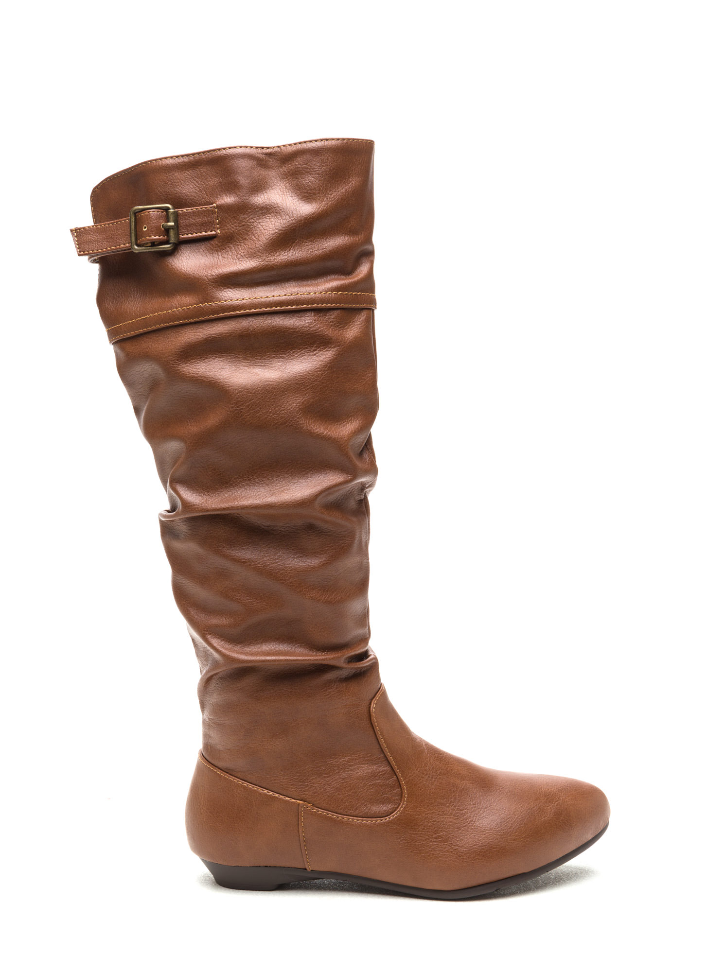 Strap 'Em Up Slouchy Knee-High Boots CHESTNUT