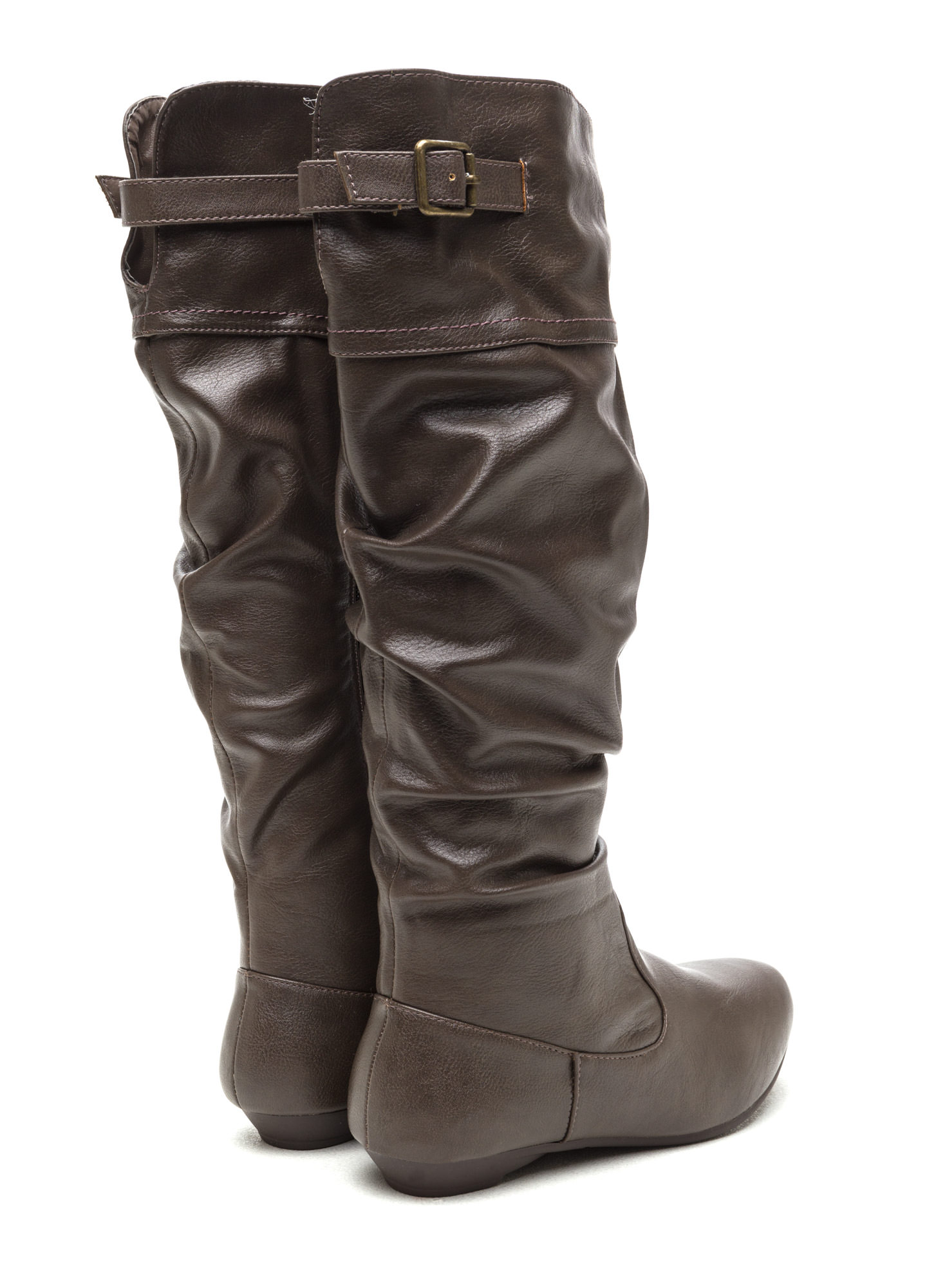 Strap 'Em Up Slouchy Knee-High Boots TAUPE