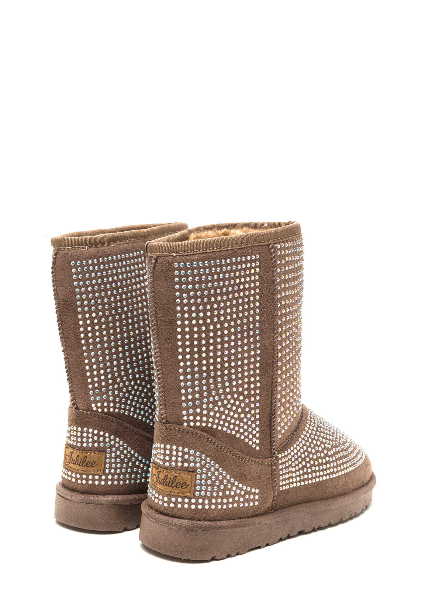 Rhinestone Ready Faux Suede Boots TAUPE