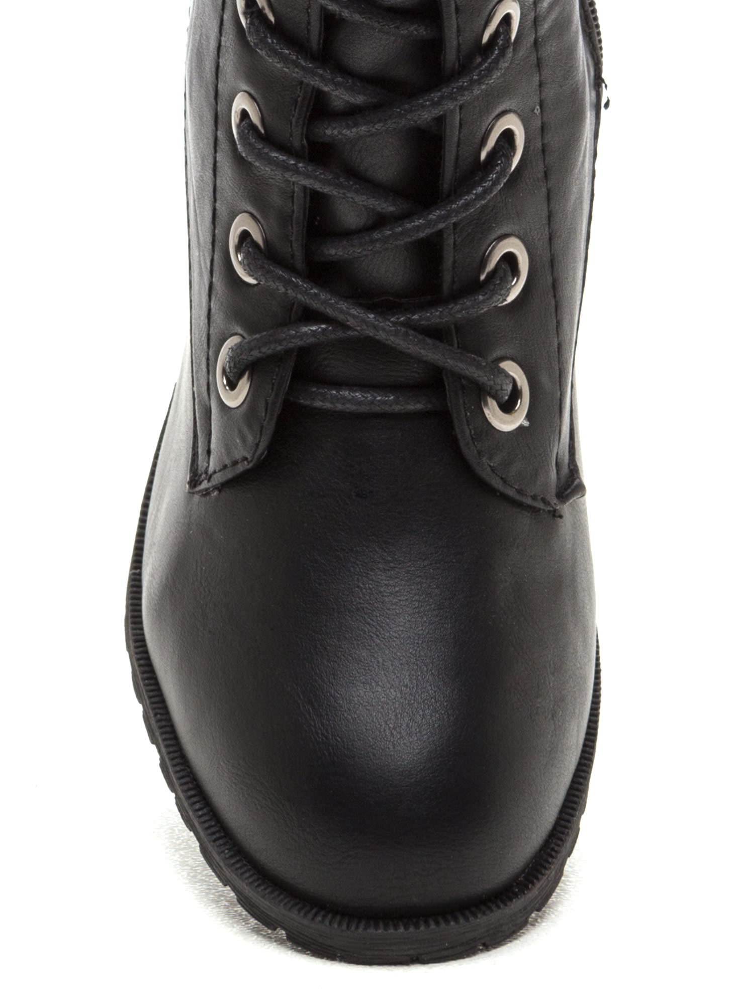 March On Faux Leather Boots BLACK