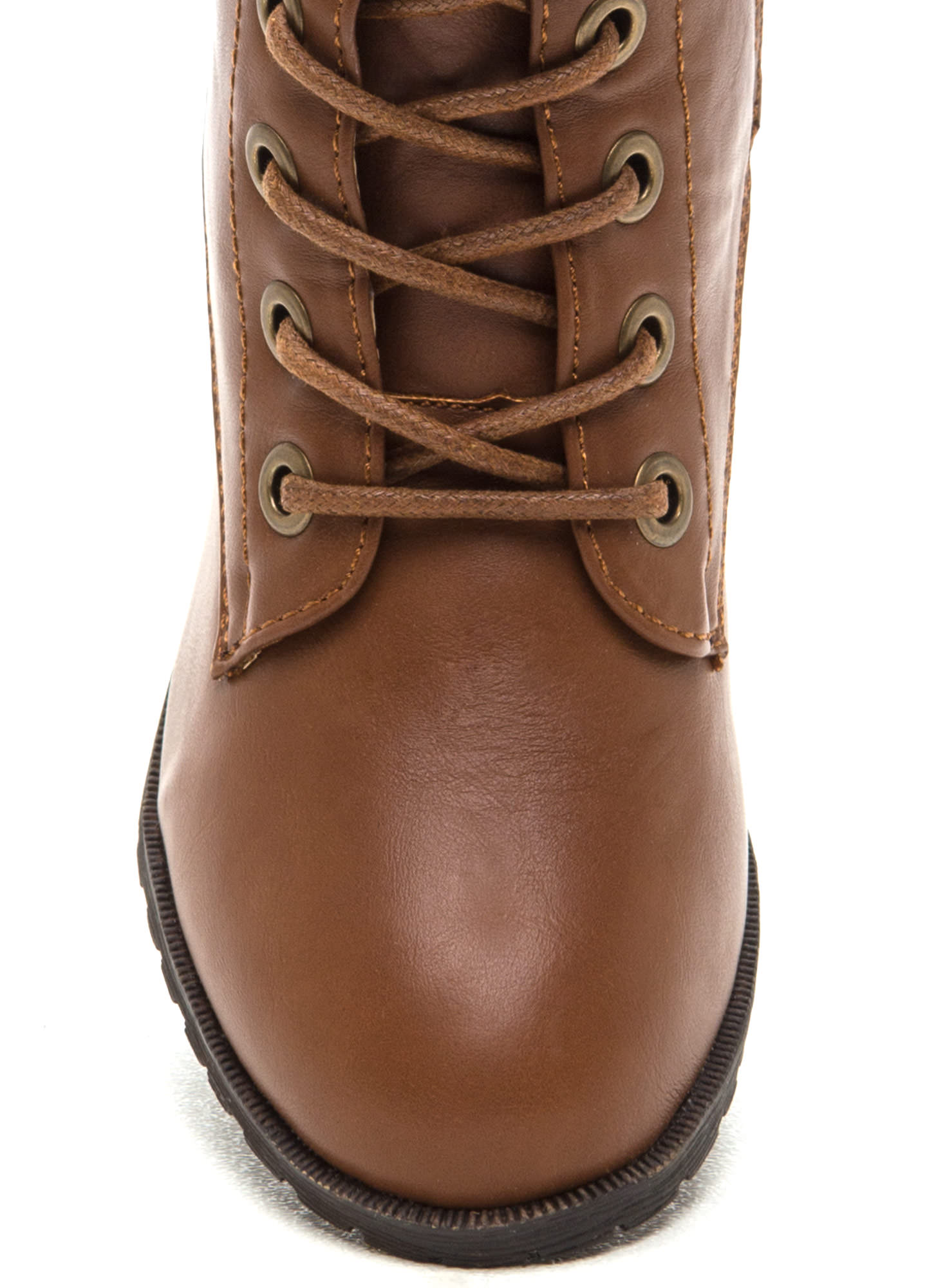 March On Faux Leather Boots CHESTNUT